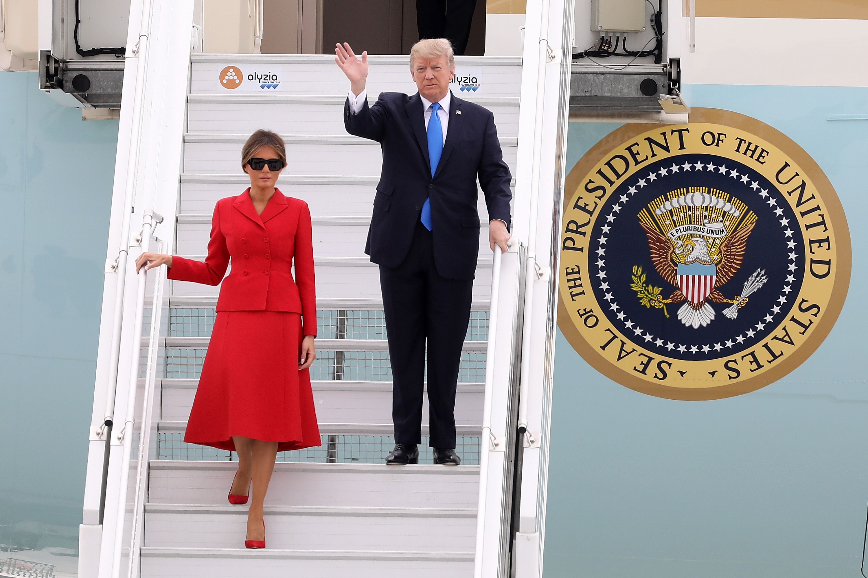 President Donald Trump and First Lady Melania Trump arrive at Orly Airport on July 13, 2017 in Paris, France.