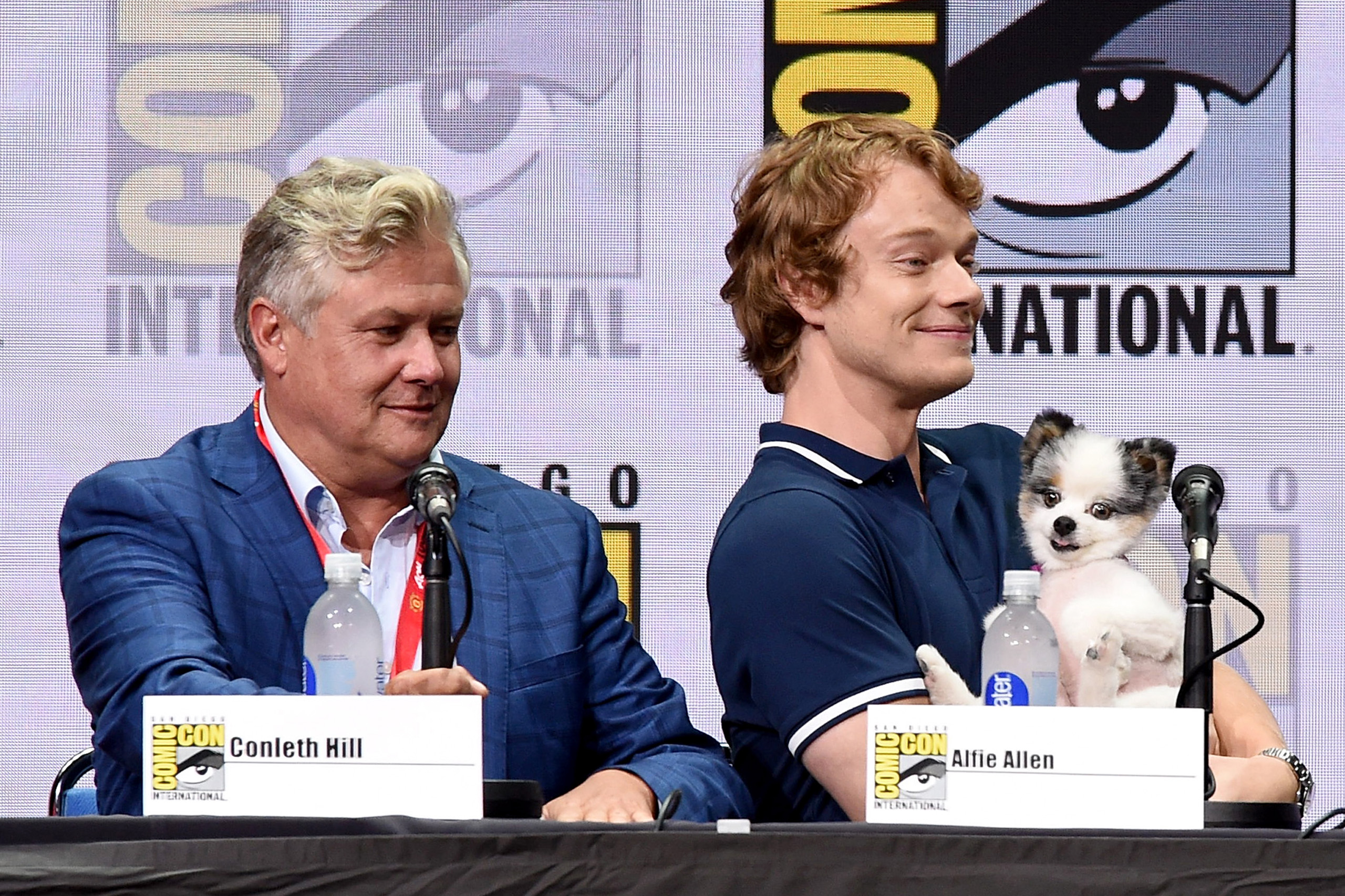 Actors Conleth Hill and Alfie Allen speak onstage at Comic-Con International 2017  Game Of Thrones  panel And Q+A Session at San Diego Convention Center on July 21, 2017 in San Diego.