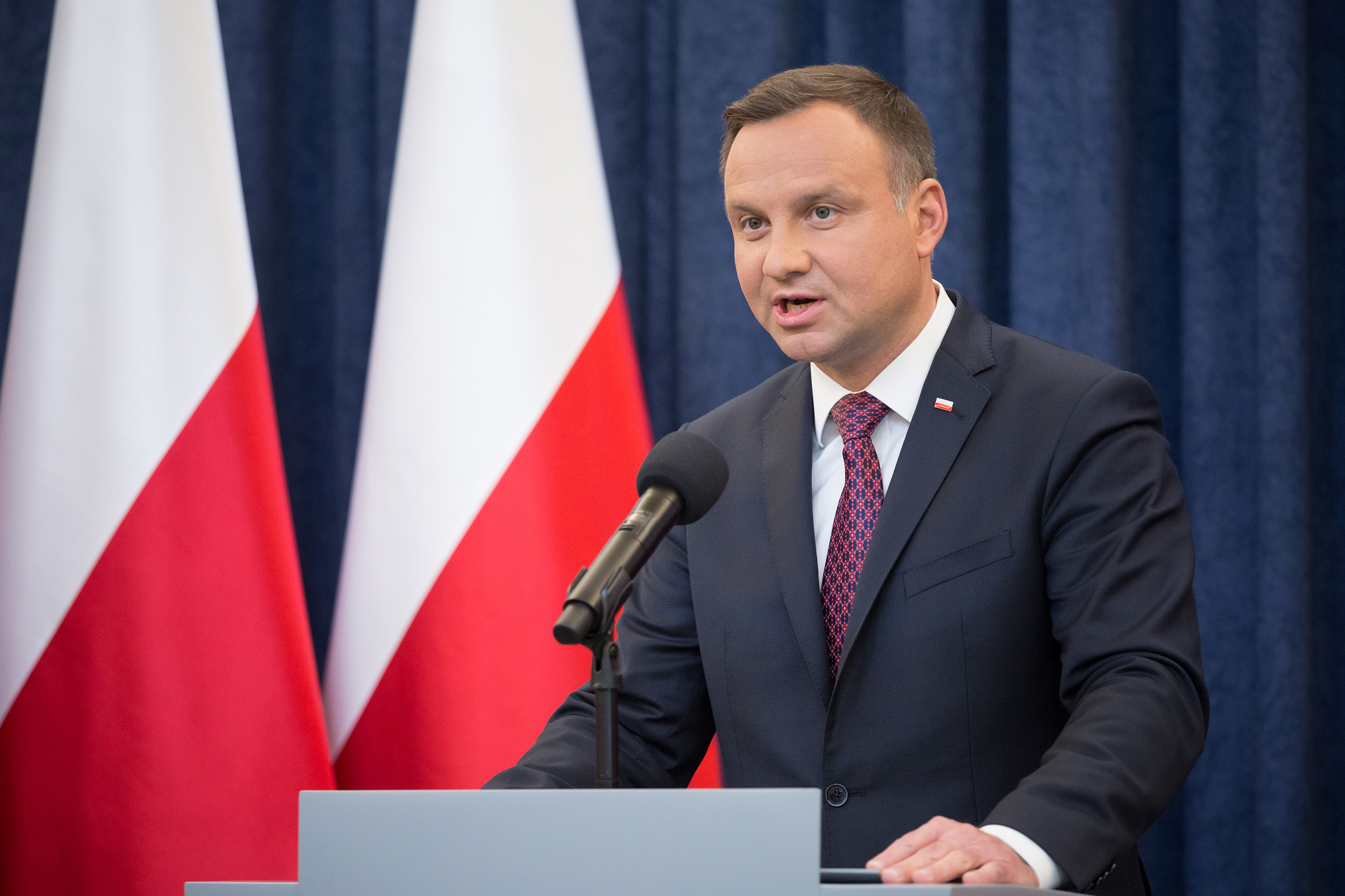 President of Poland, Andrzej Duda, makes a statement about changes in the judicial law and Supreme Court at Presidential Palace in Warsaw, Poland on July 18, 2017.