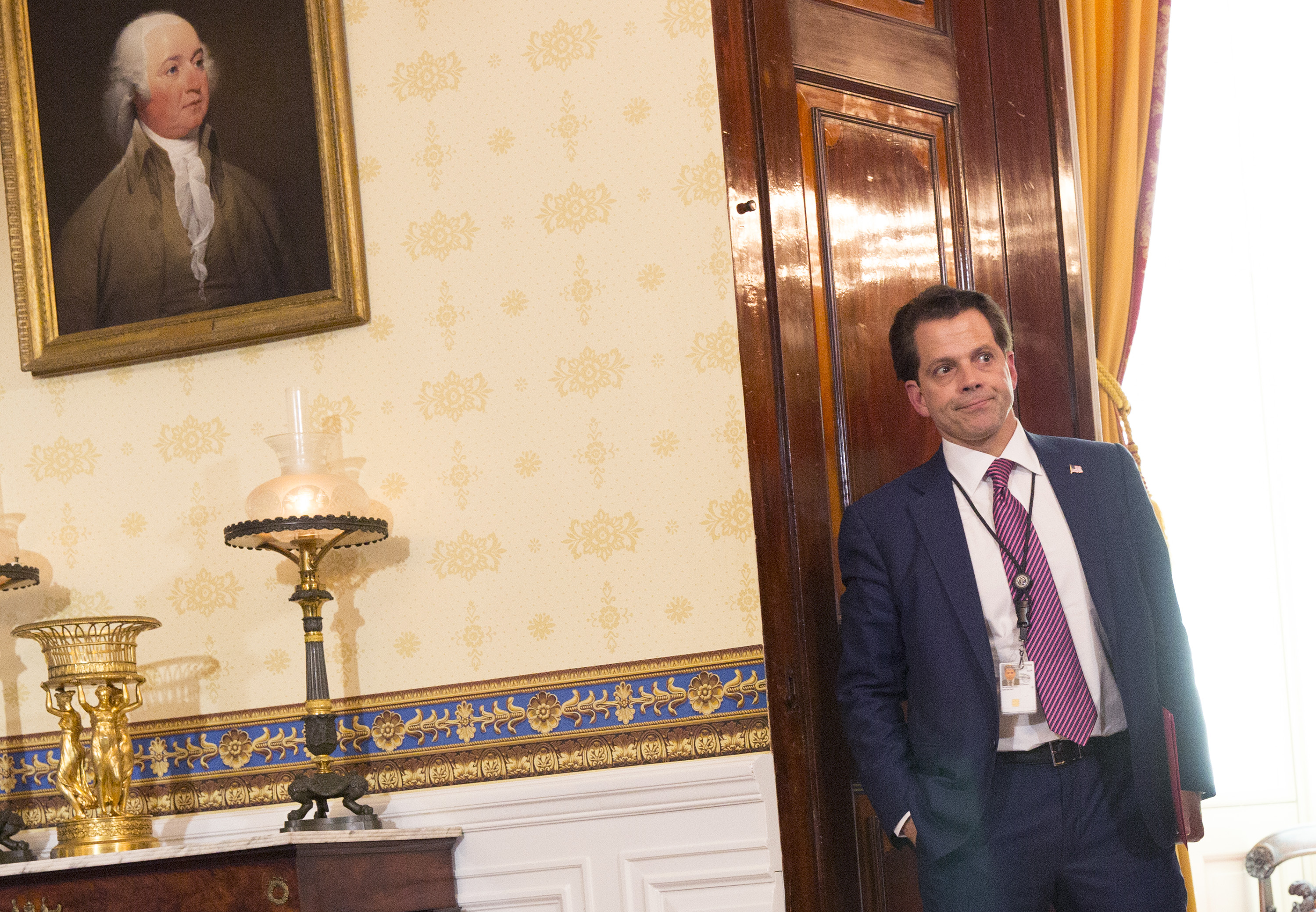 Anthony Scaramucci listens during a press conference on healthcare with U.S. President Donald Trump, not pictured, in the Blue Room of the White House in Washington, D.C., U.S., on Monday, July 24, 2017.
