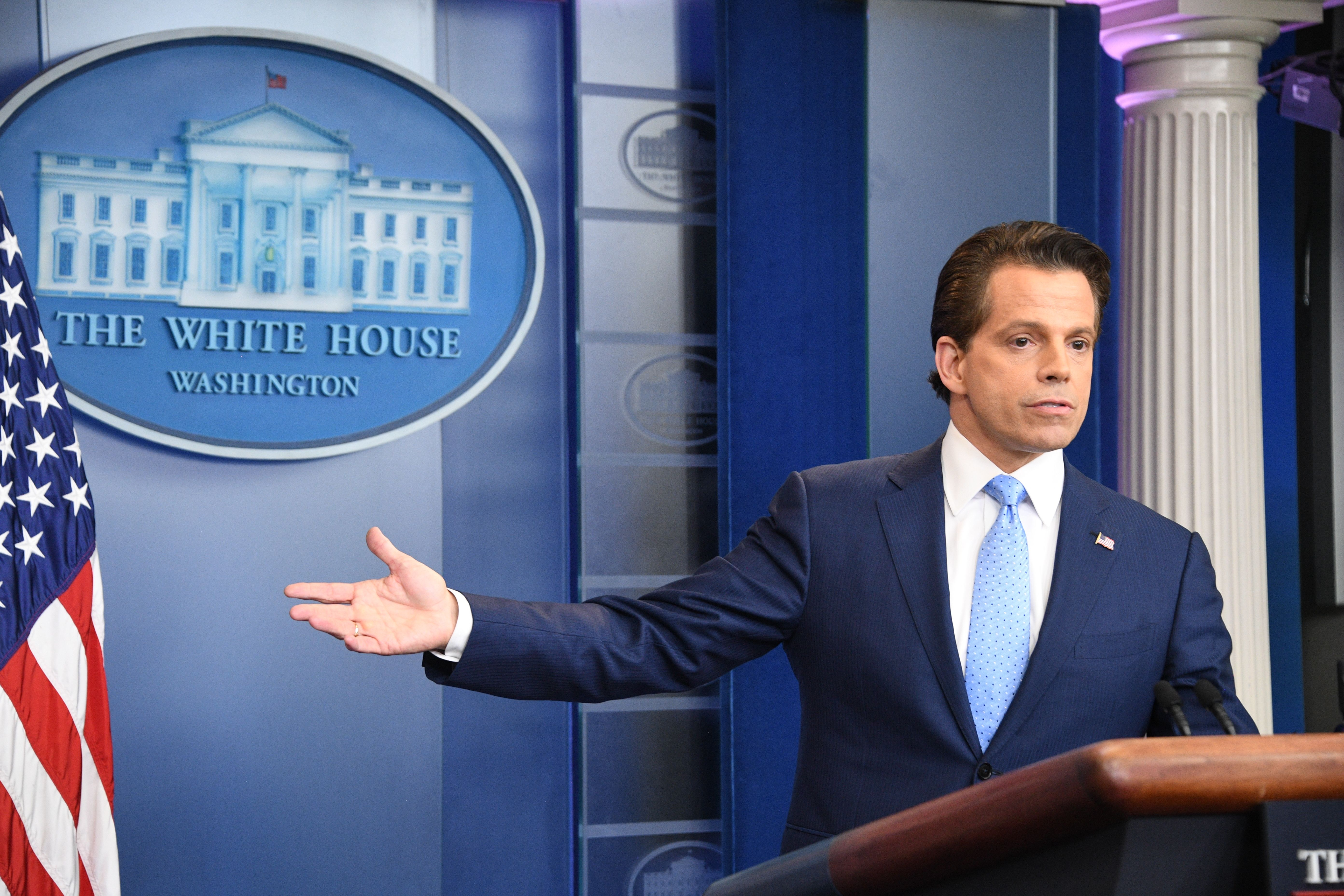Anthony Scaramucci, who was briefly appointed White House communications director, speaks during a press briefing at the White House in Washington, D.C. on July 21, 2017.