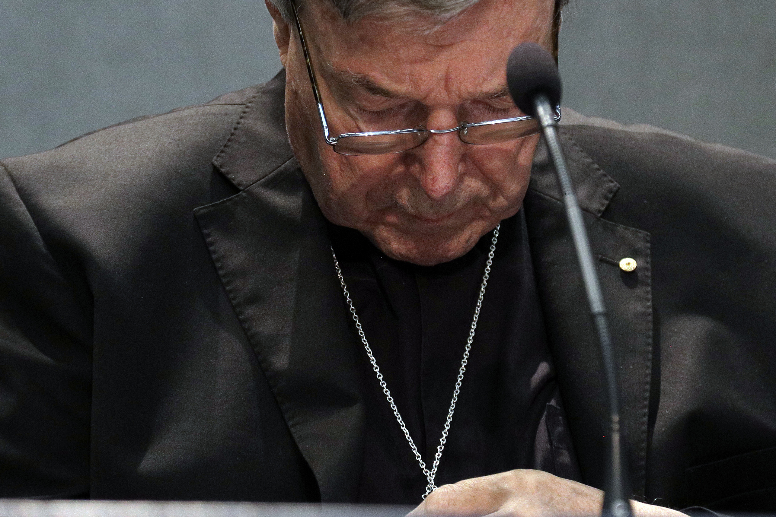 Cardinal George Pell meets the media, at the Vatican, Thursday, June 29, 2017.