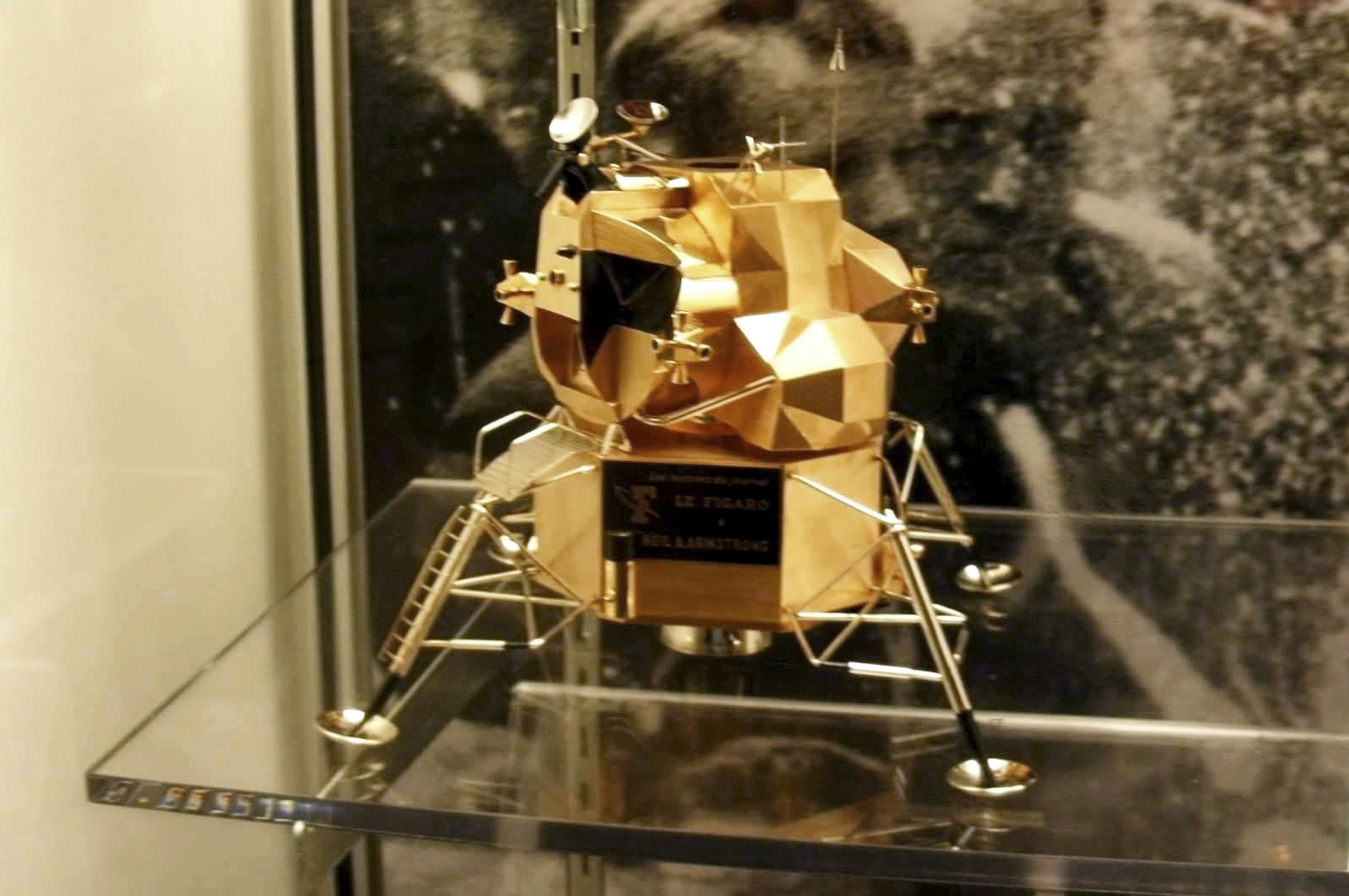 A lunar module replica at Armstrong Air and Space Museum in Wapakoneta, Ohio. Police say the rare gold replica of the lunar space module has been stolen from the museum.