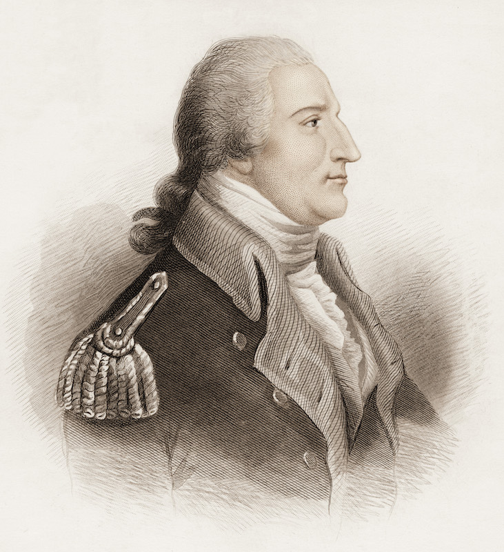 Engraving depicts a portrait of Benedict Arnold (1741-1801), American army officer, and traitor.