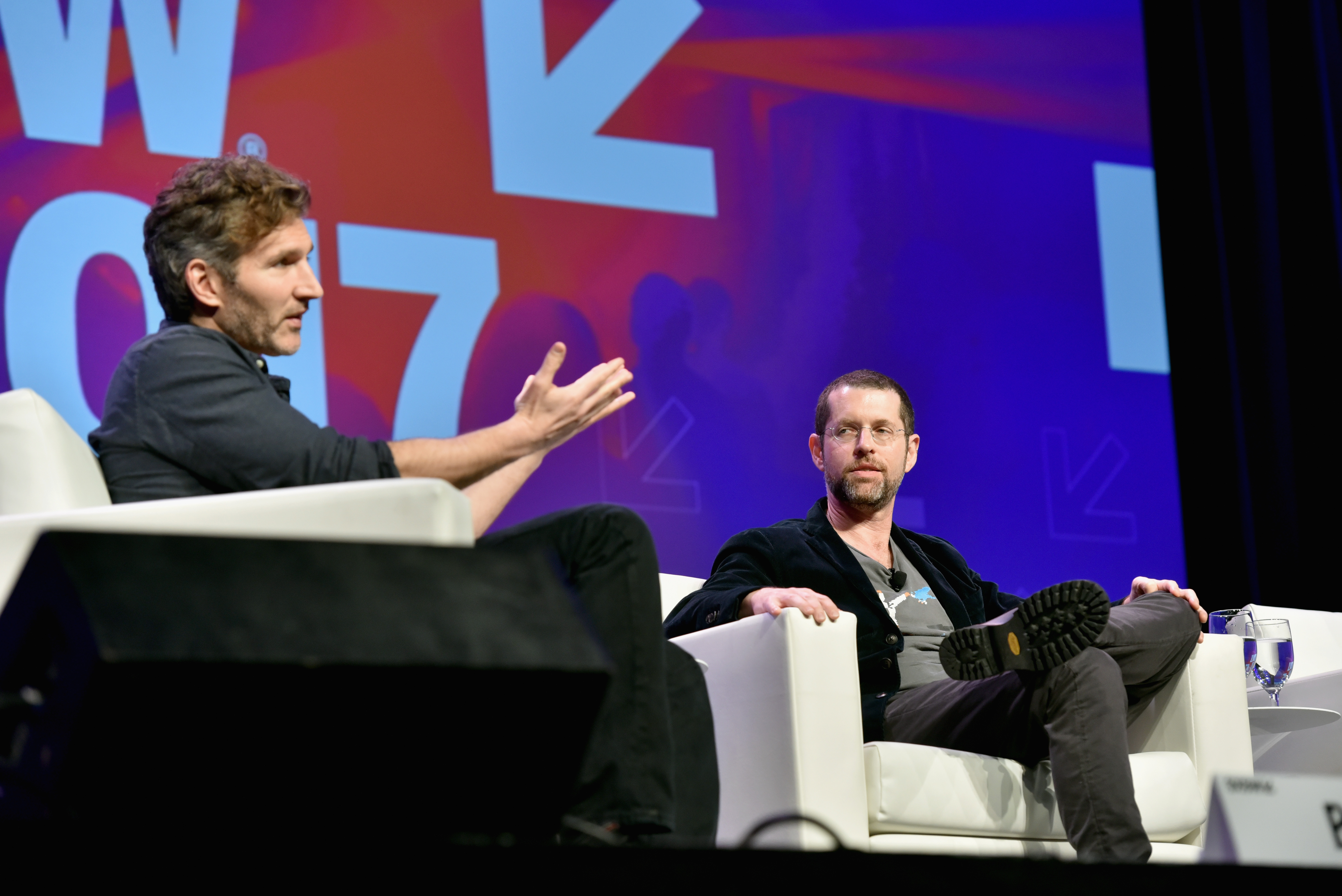 Writers David Benioff (L) and  D.B. Weiss speak onstage at 'Featured Session: Game of Thrones' during 2017 SXSW Conference and Festivals at Austin Convention Center on March 12, 2017 in Austin, Texas.