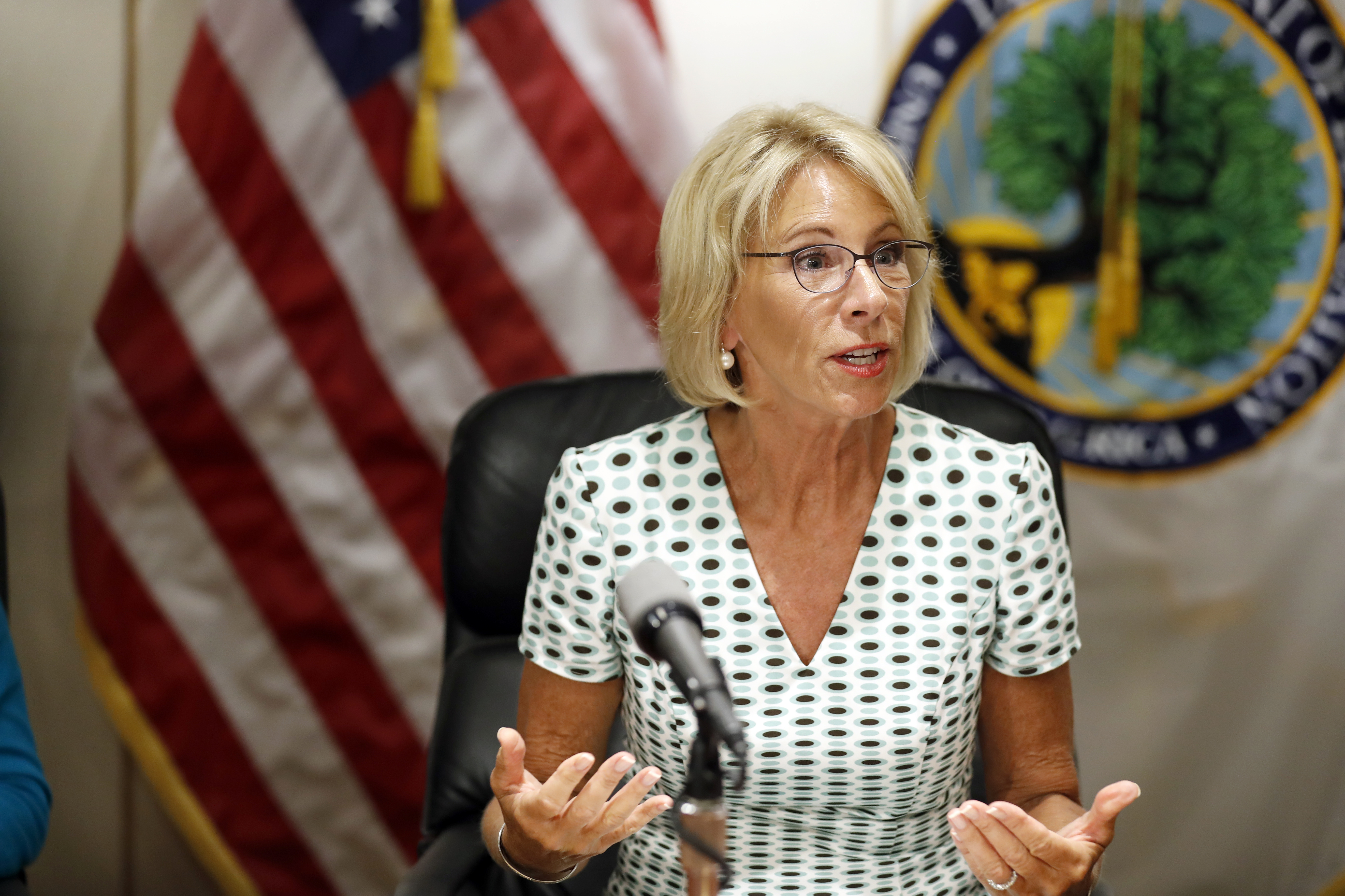 Education Secretary Betsy DeVos speaks with the media after a series of listening sessions about campus sexual violence on July 13, 2017.