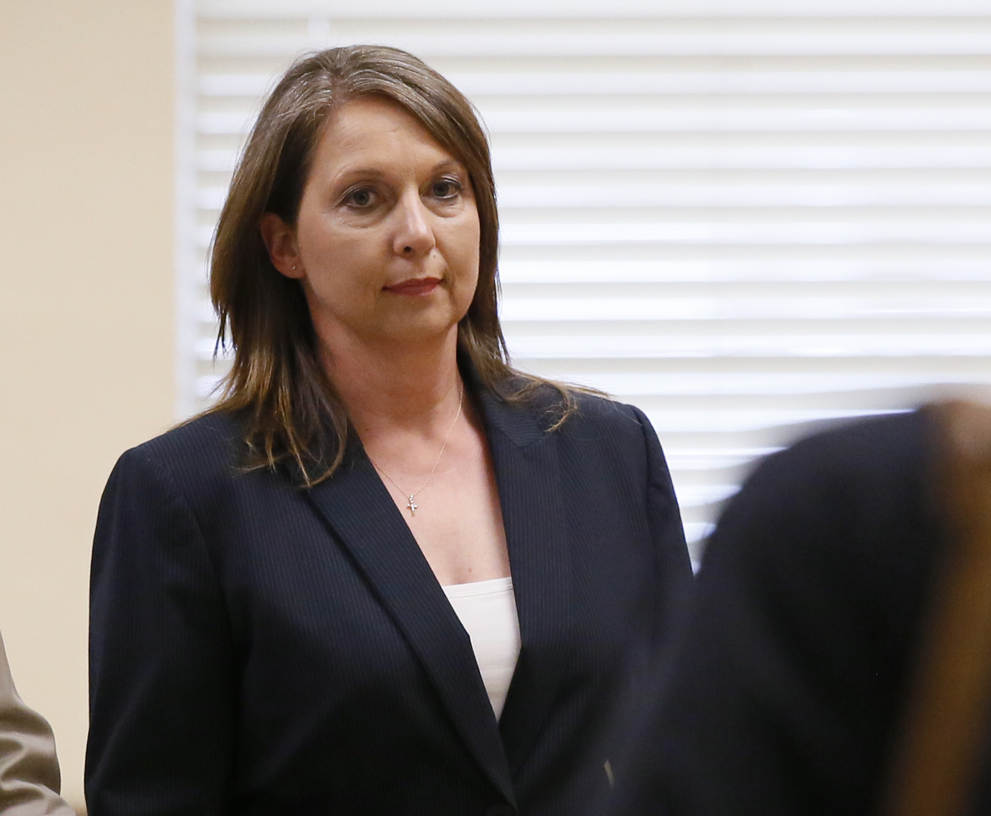 Betty Shelby leaves the courtroom following testimony in her trial in Tulsa, Okla. on May 12, 2017.