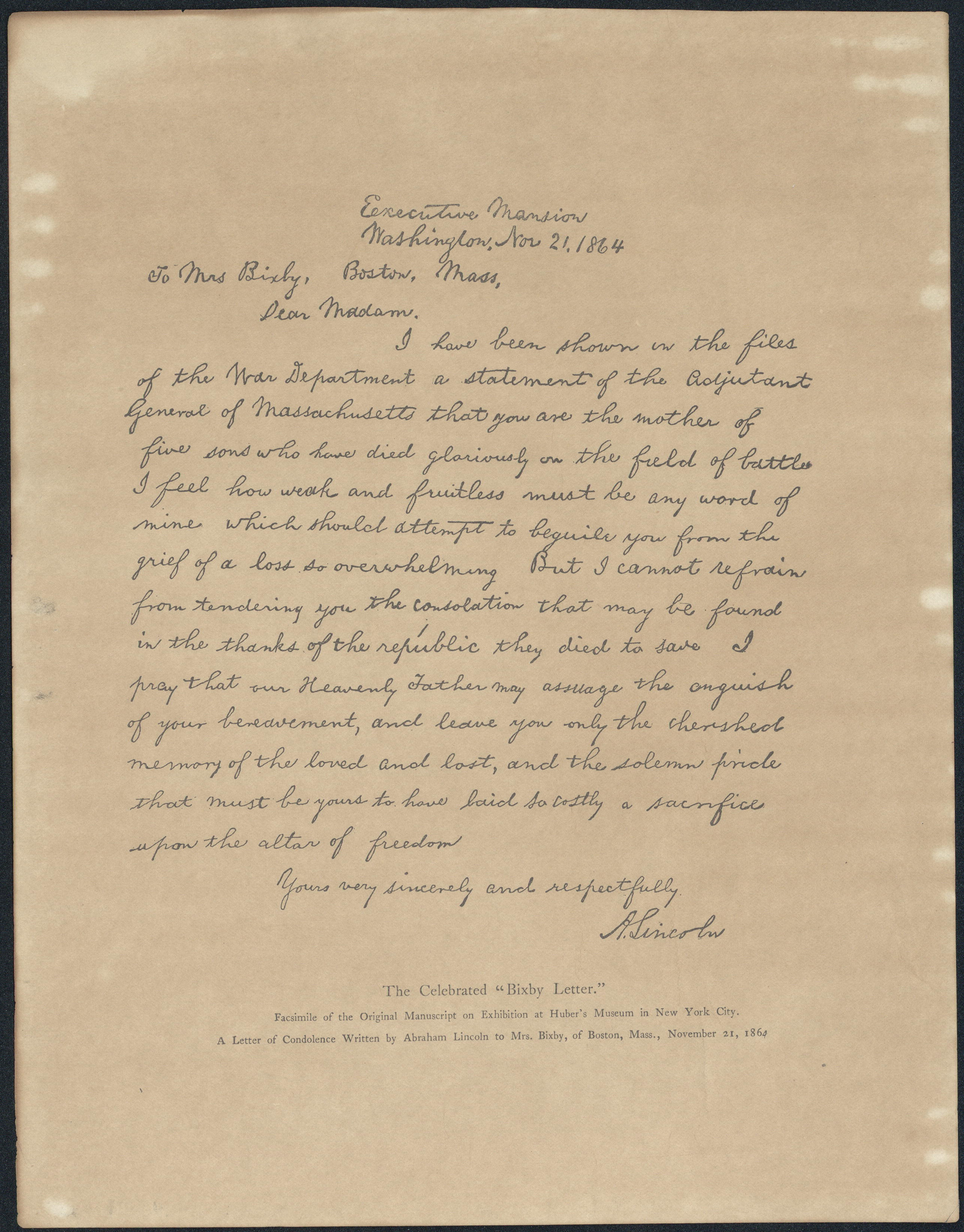 A copy of the Bixby Letter.