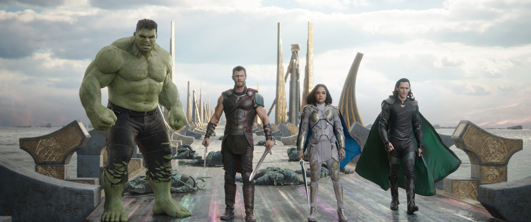 THOR: RAGNAROK..L to R: Hulk (Mark Ruffalo), Thor (Chris Hemsworth), Valkyrie (Tessa Thompson) and Loki (Tom Hiddleston)