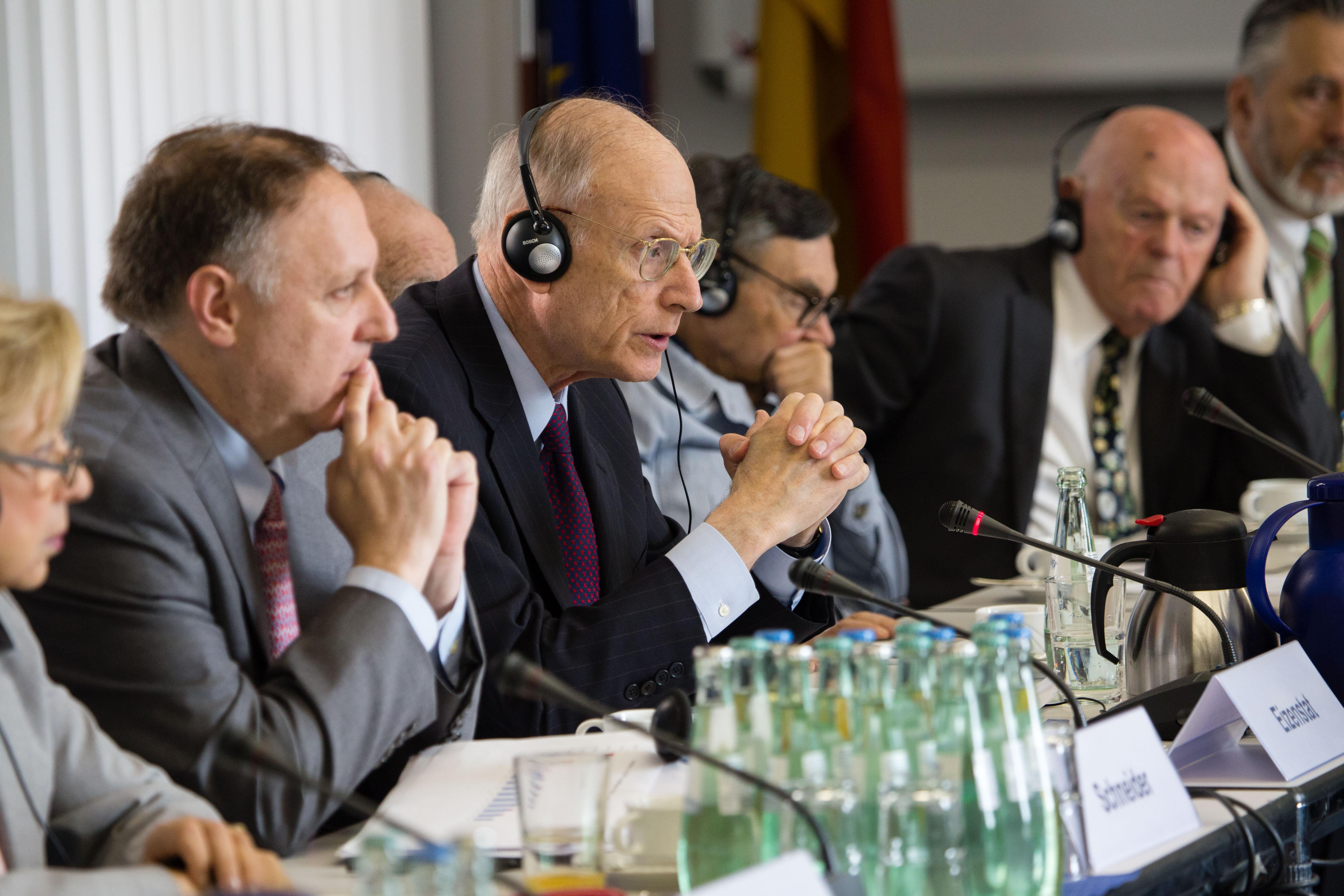 Negotiations proceed in 2017 with (L-R) Ambassador Collete Avital; Greg Schneider, Claims Conference EVP;                     Ambassador Stuart Eizenstat; Auschwitz survivor Marian Turski; and Buchenwald survivor Ben Helfgott