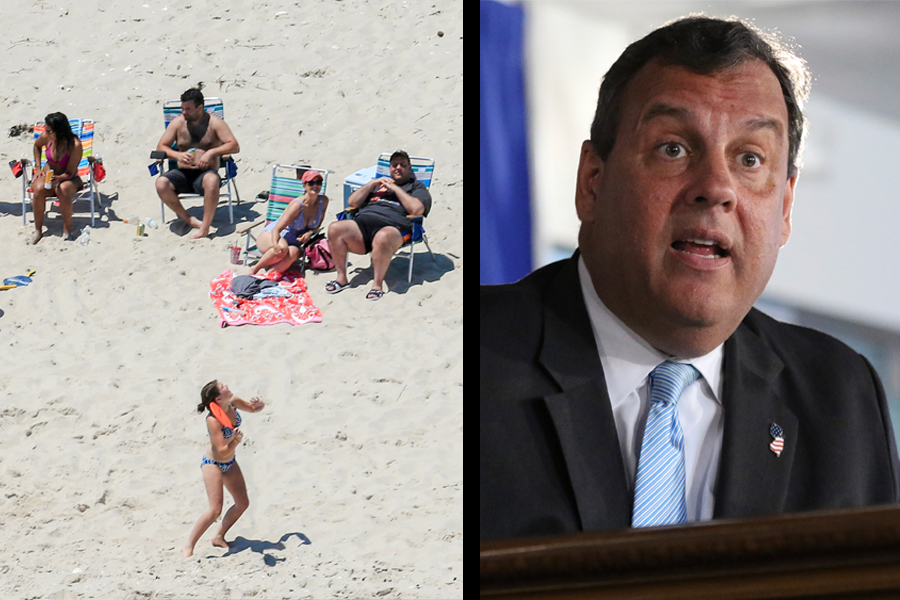 Beach: New Jersey Gov. Chris Christie, right, uses the beach with his family and friends at the governor's summer house at Island Beach State Park in New Jersey on July 2, 2017; Christie: Gov. Chris Christie speaks during a press conference, July 2, 2017, on day two of the state government shut down, in Trenton, N.J.