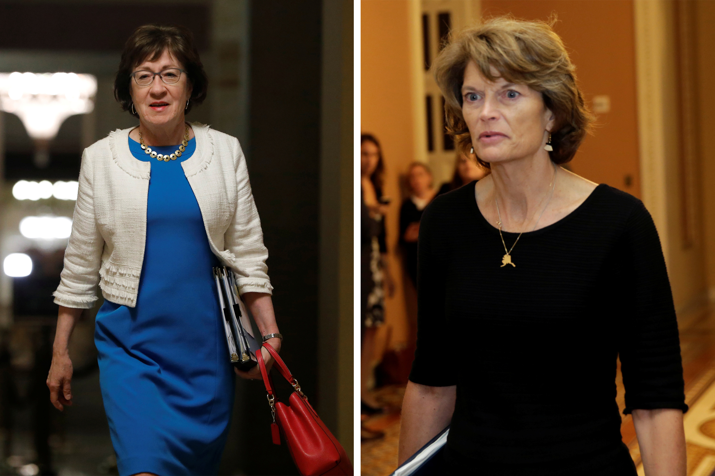 Senator Susan Collins (R-ME) and Senator Lisa Murkowski (R-AK) walk to the Senate floor to vote on the health care bill on Capitol Hill on July 27, 2017.