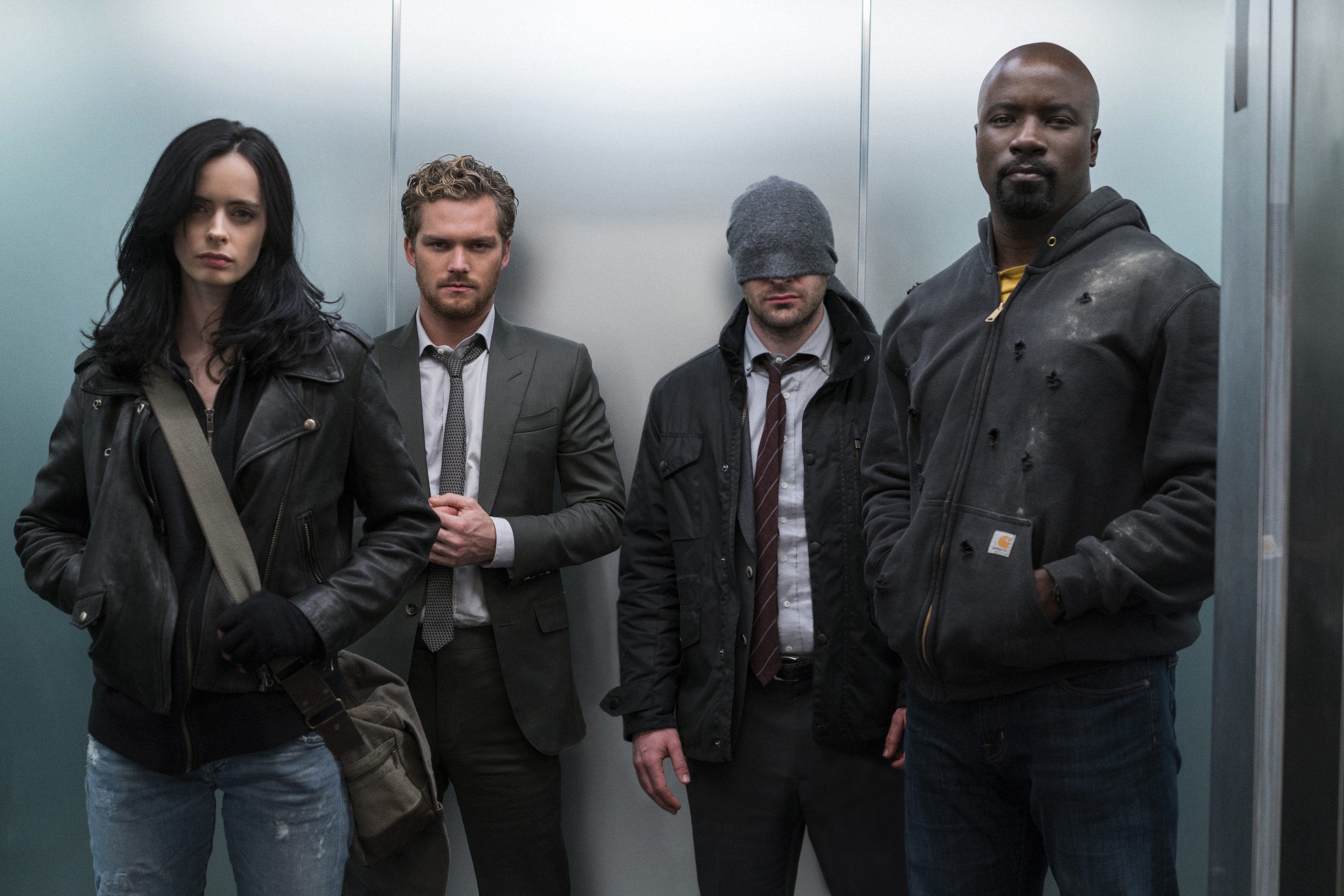 (l-r) Krysten Ritter, Finn Jones, Charlie Cox and Mike Colter in Marvel's The Defenders