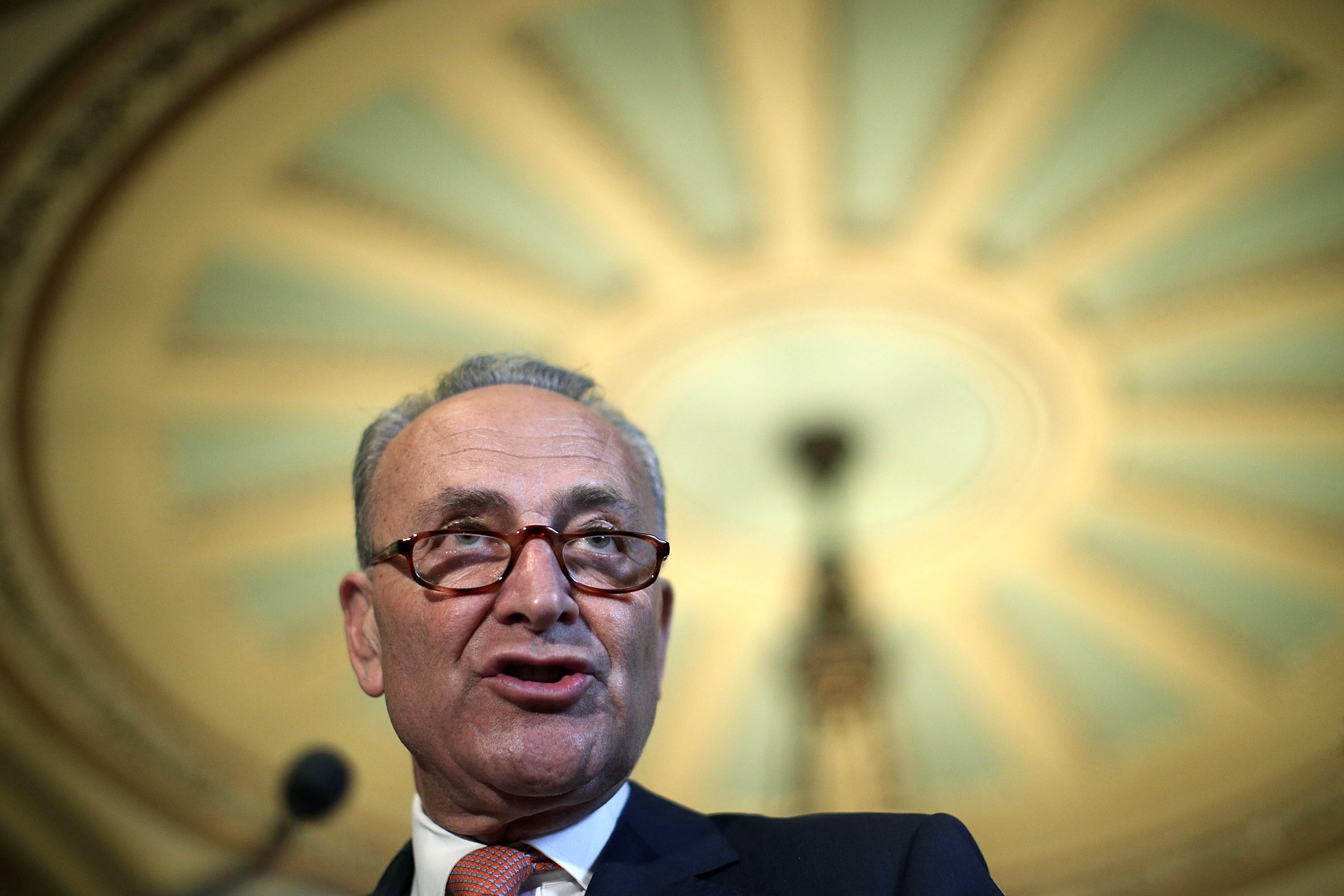 WASHINGTON, DC - JULY 11:  U.S. Senate Minority Leader Sen. Charles Schumer (D-NY) speaks during a news briefing after the weekly Senate Democratic Policy Luncheon July 11, 2017 at the Capitol in Washington, DC. Sen. Schumer discussed various topics including Senate's delaying its recess to the third week of August.  (Photo by Alex Wong/Getty Images)