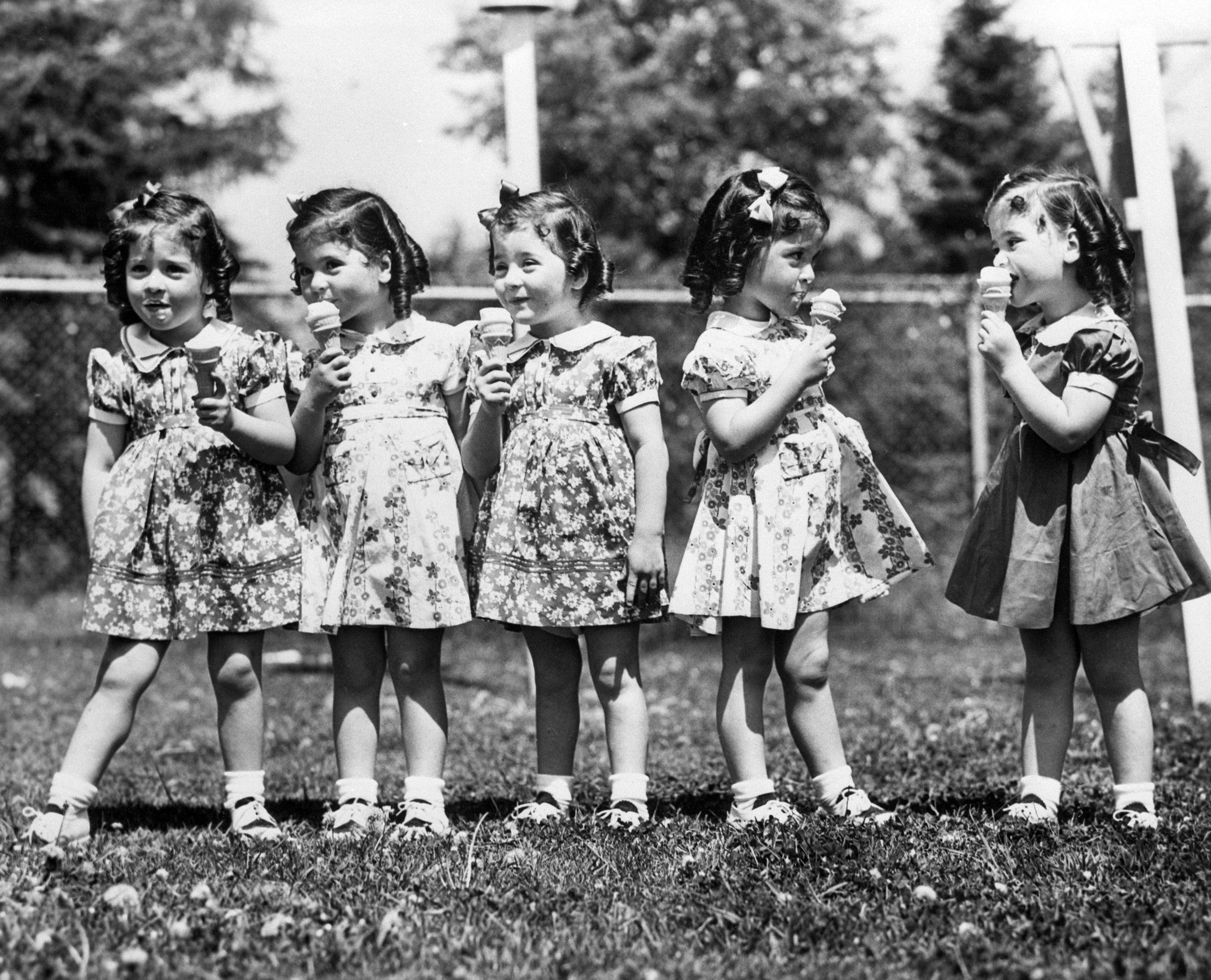 The Dionne quintuplets on their 4th birthday in Callender, Ontario, May 28, 1938. Left to right: Emilie, Annette, Marie, Cecile and Yvonne.
