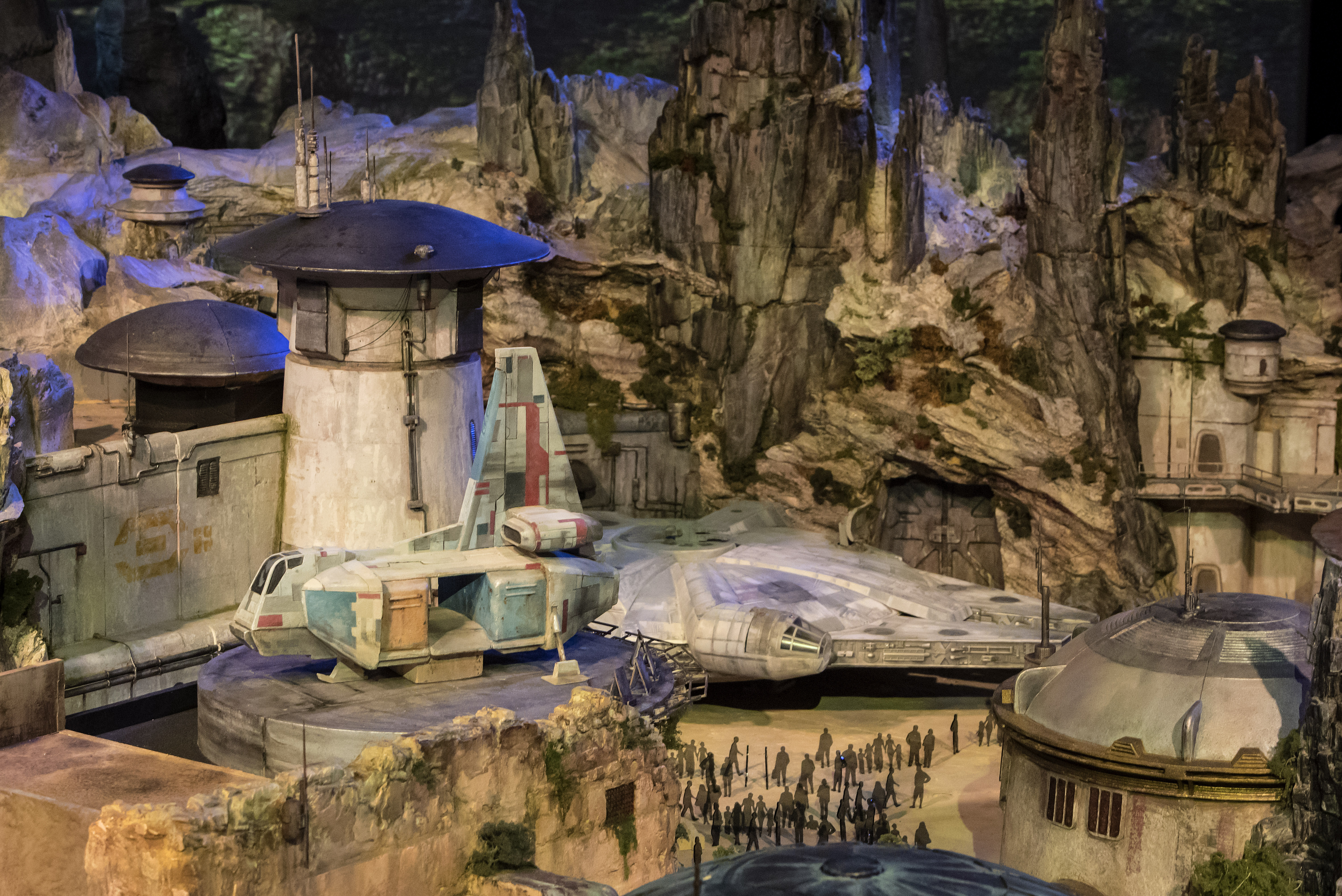 The fully detailed model of the Star Wars-themed park, under development at Disneyland in Anaheim, Calif., remains on display in Walt Disney Parks and Resorts 'A Galaxy of Stories' pavilion throughout D23 Expo at the Anaheim Convention Center. The exhibition gives D23 Expo guests an up-close look at what's to come on this never-before seen planet.