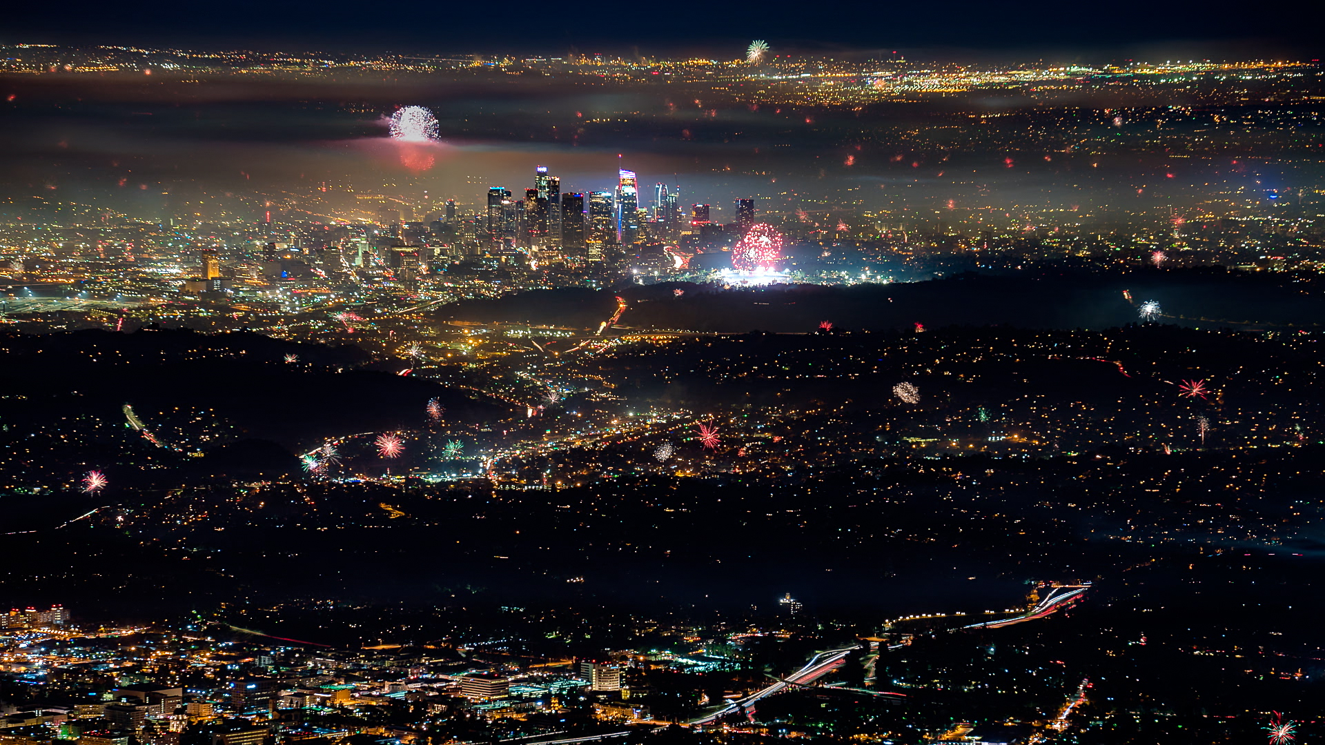 A composite image of fireworks over Los Angeles on July 4, 2017.
