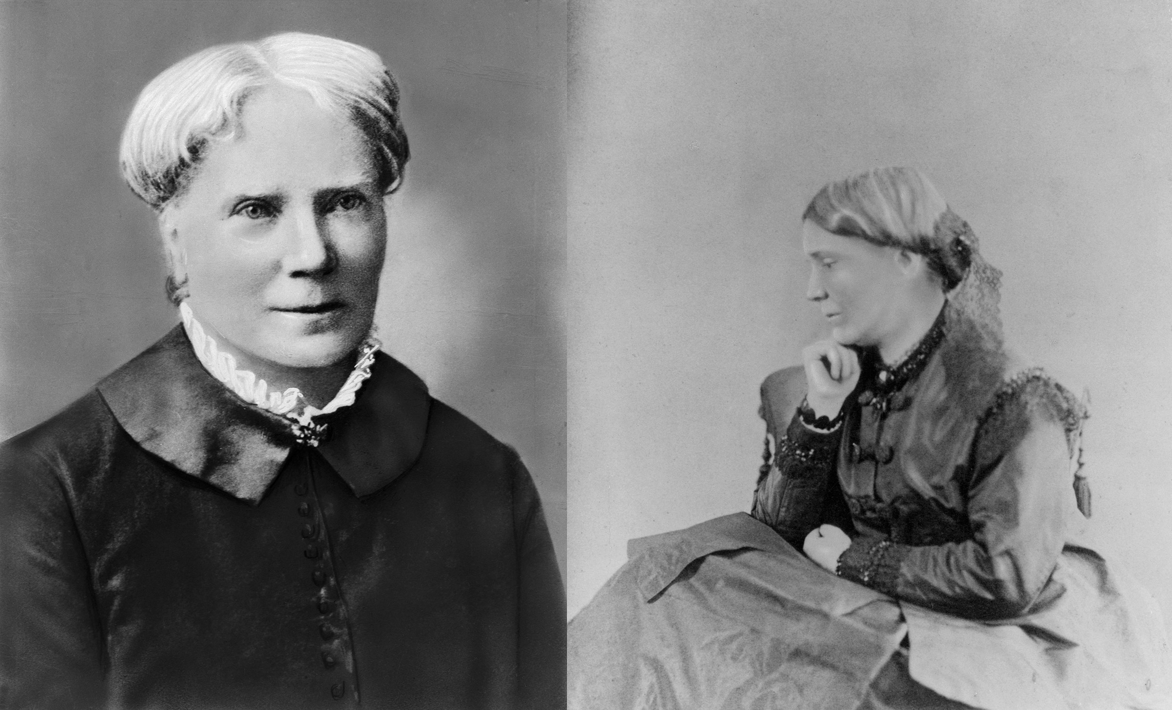 English-born doctors and sisters Elizabeth Blackwell (L) and Emily Blackwell (R). Both circa 1860s.