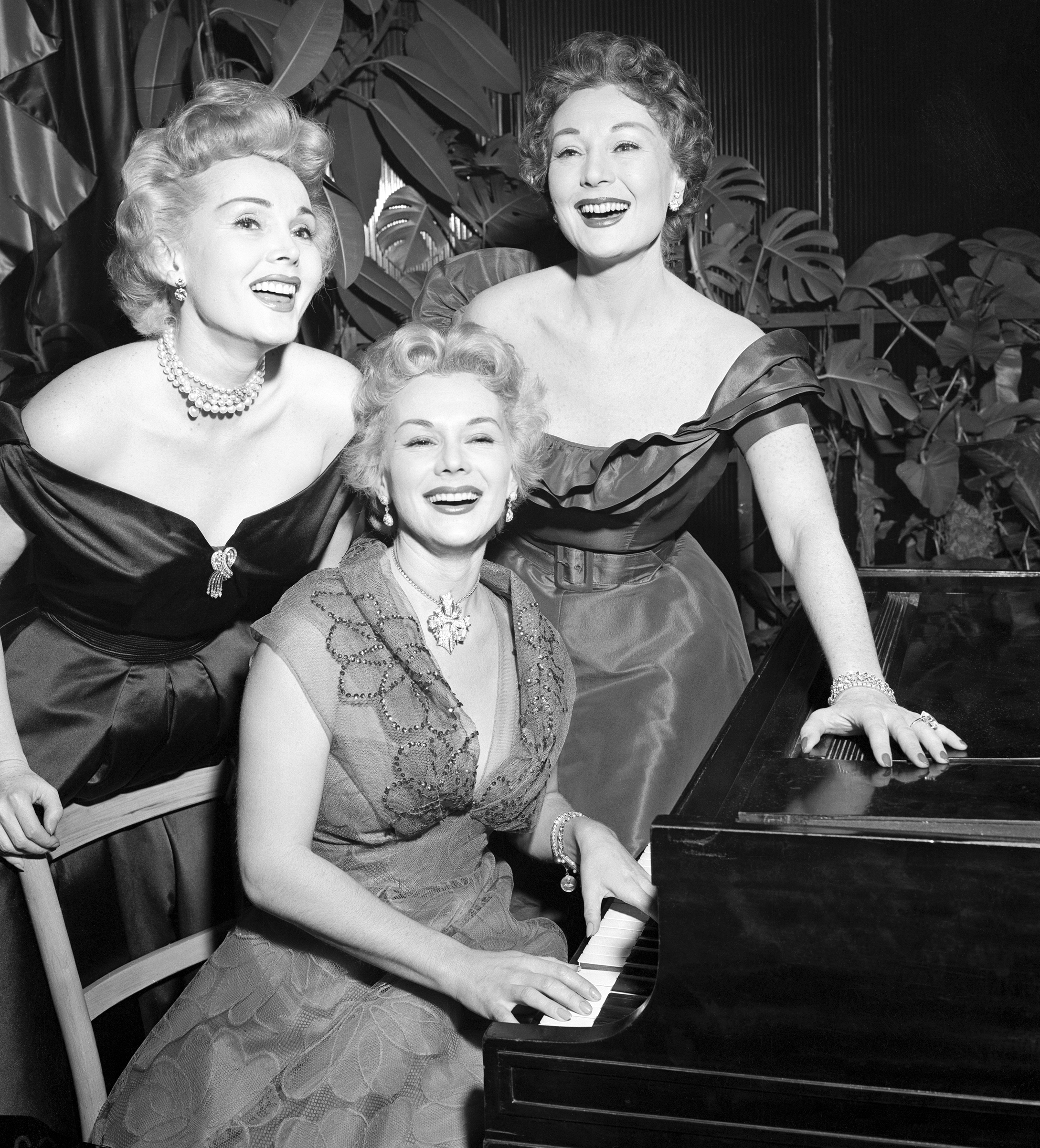 Actor Zsa Zsa (left), Eva (center), and Magda Gabor (right), glamorous trio of sisters doing a night club stint at Ciro's, 1953.