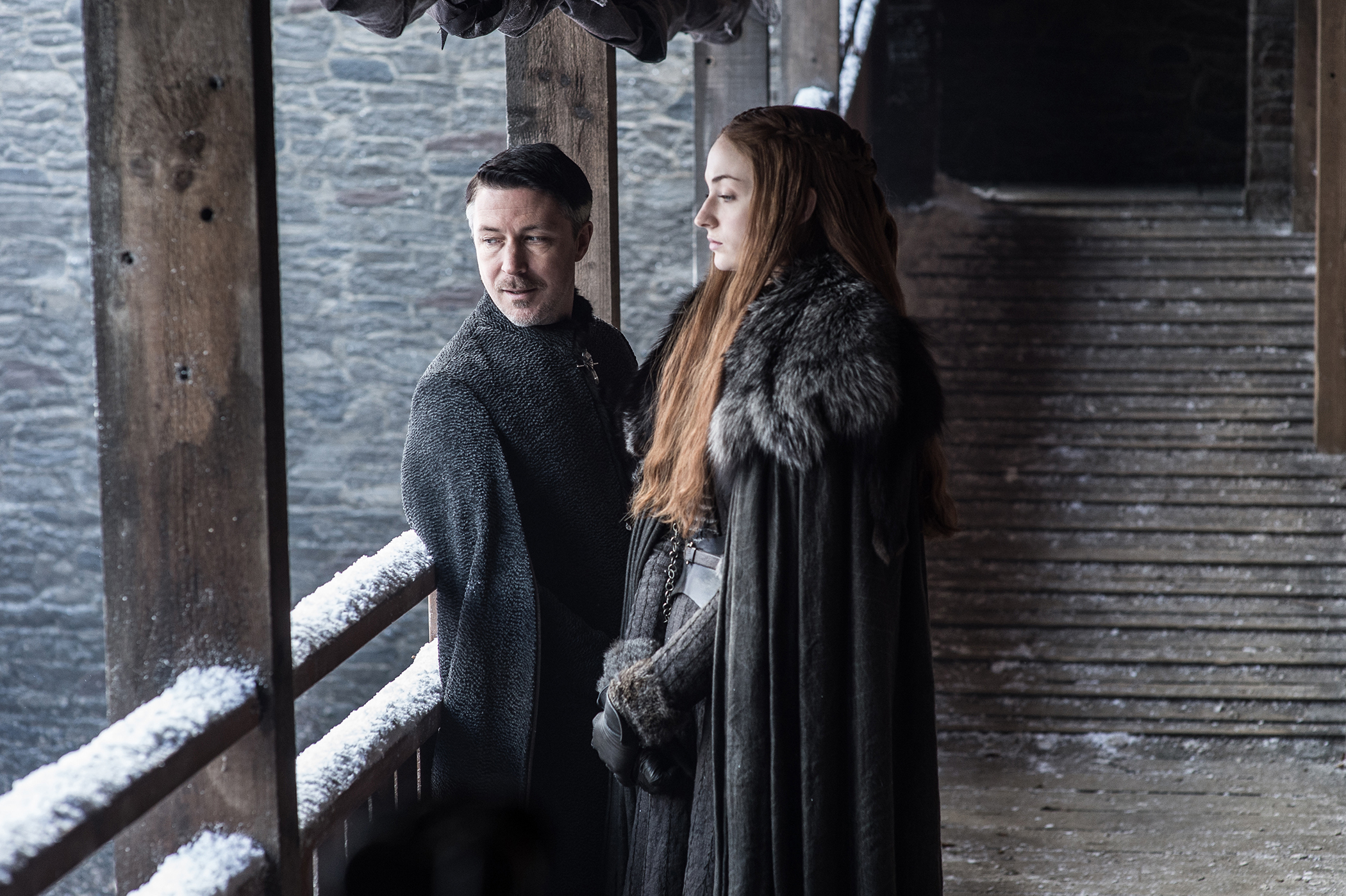 Aiden Gillen and Sophie Turner in Game of Thrones