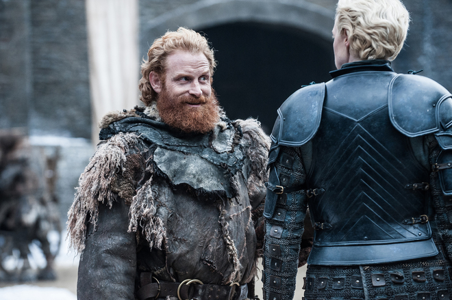 Kristofer Hivju and Gwendoline Christie in Game of Thrones