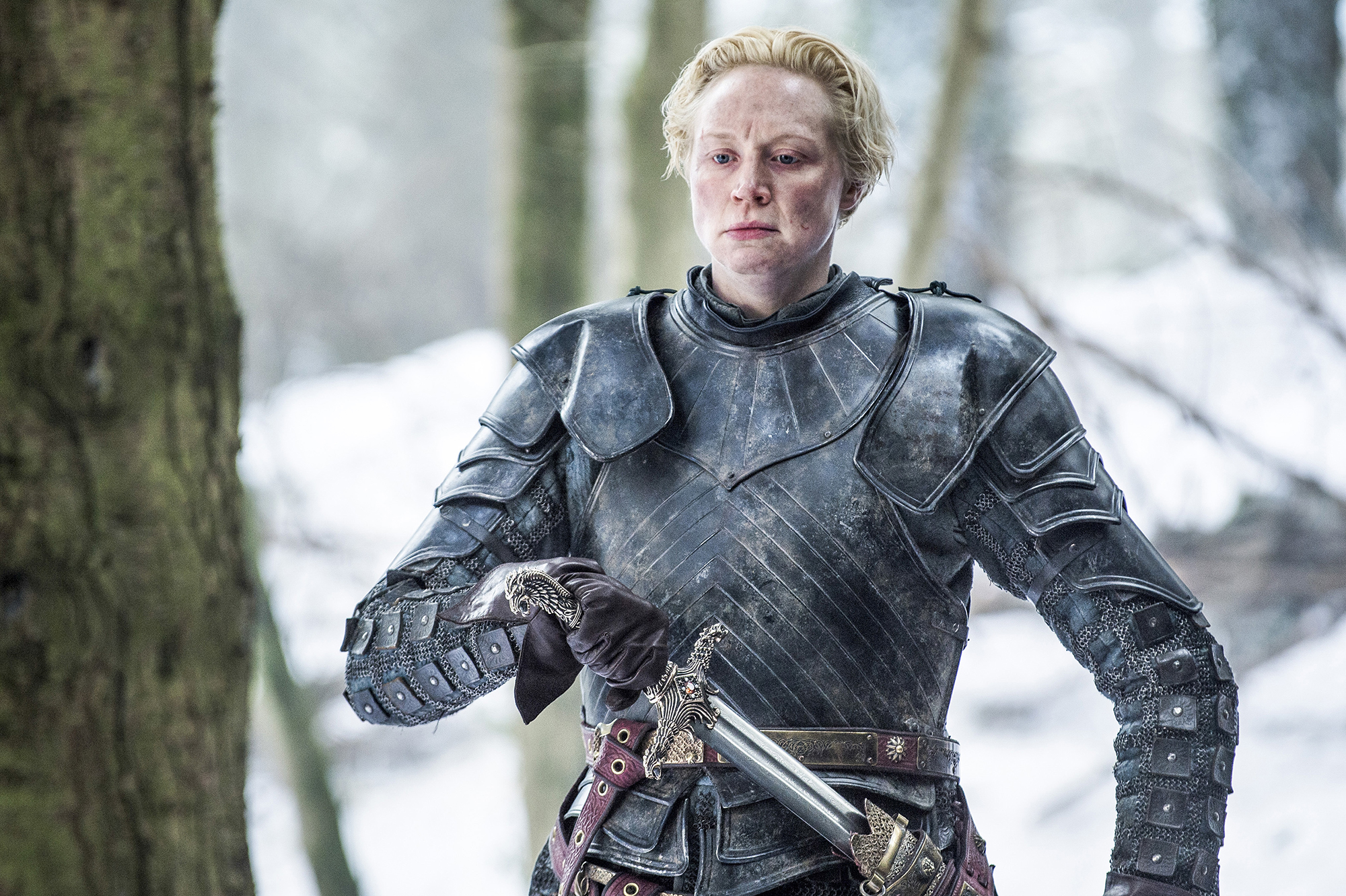 Brienne of Tarth with the Oathkeeper. HBO.