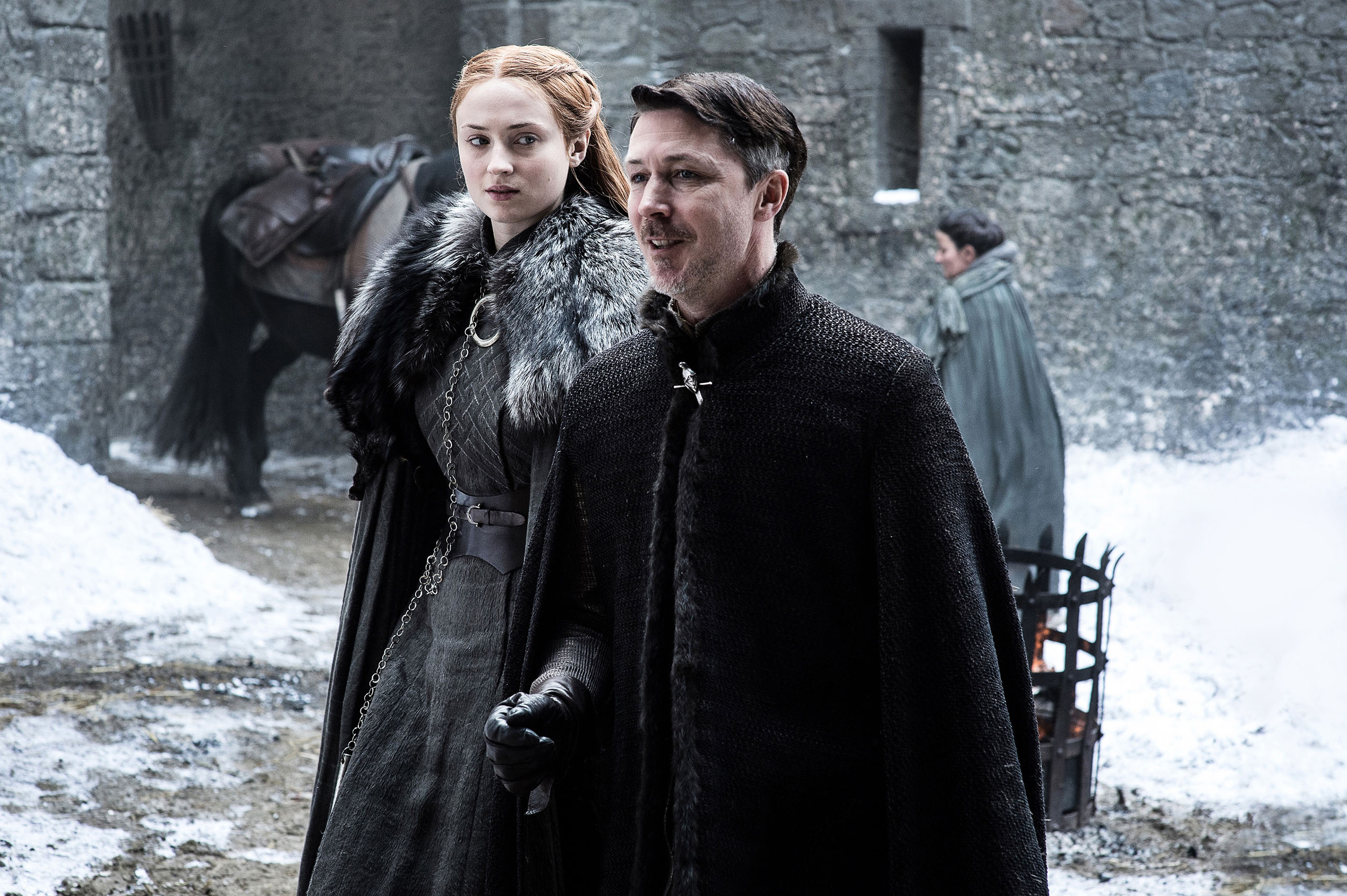 Sophie Turner and Aiden Gillen in Game of Thrones