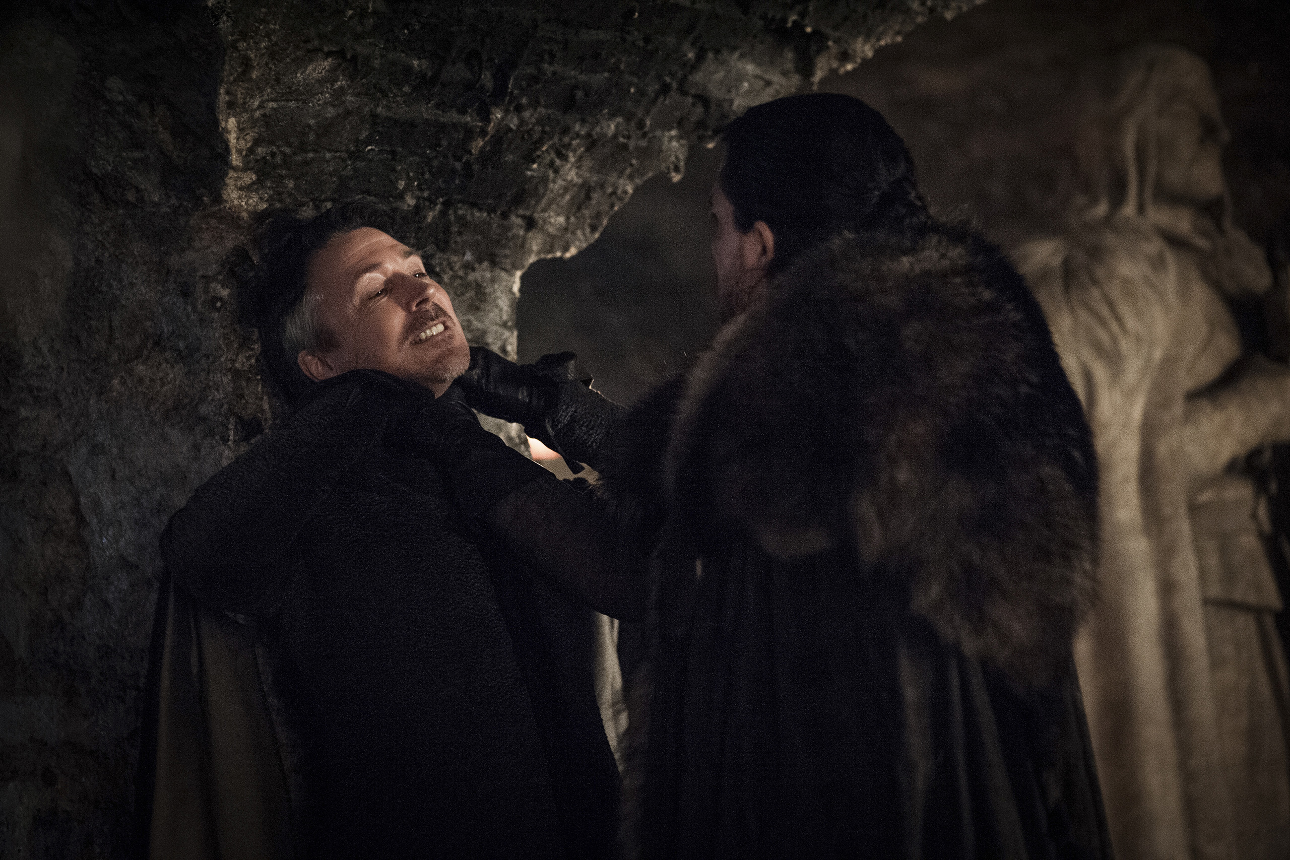 Aiden Gillen and Kit Harington in Game of Thrones