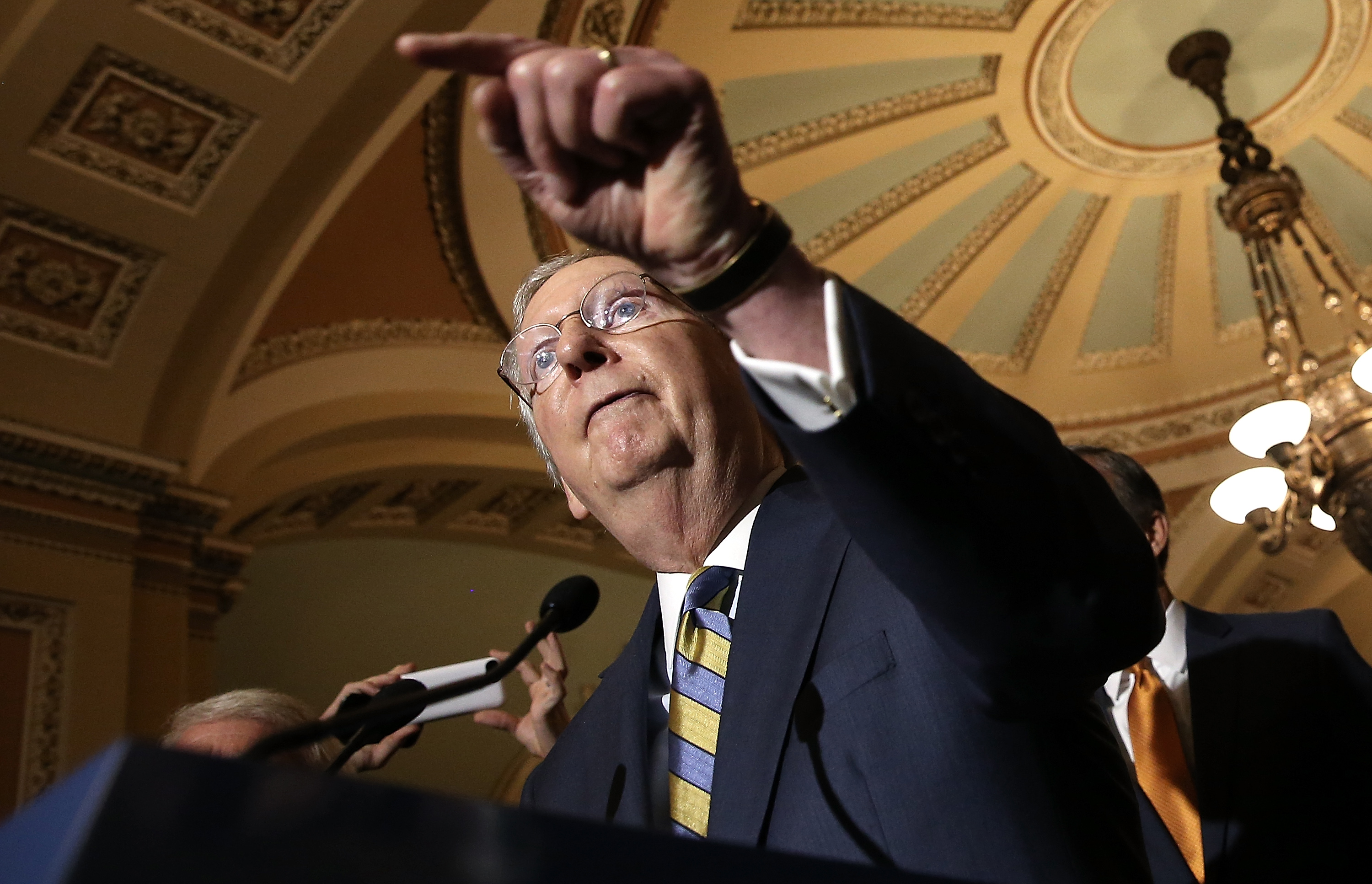 Senate Majority Leader Mitch McConnell (R-KY) answers questions at the U.S. Capitol June 2, 2015 in Washington, D.C.