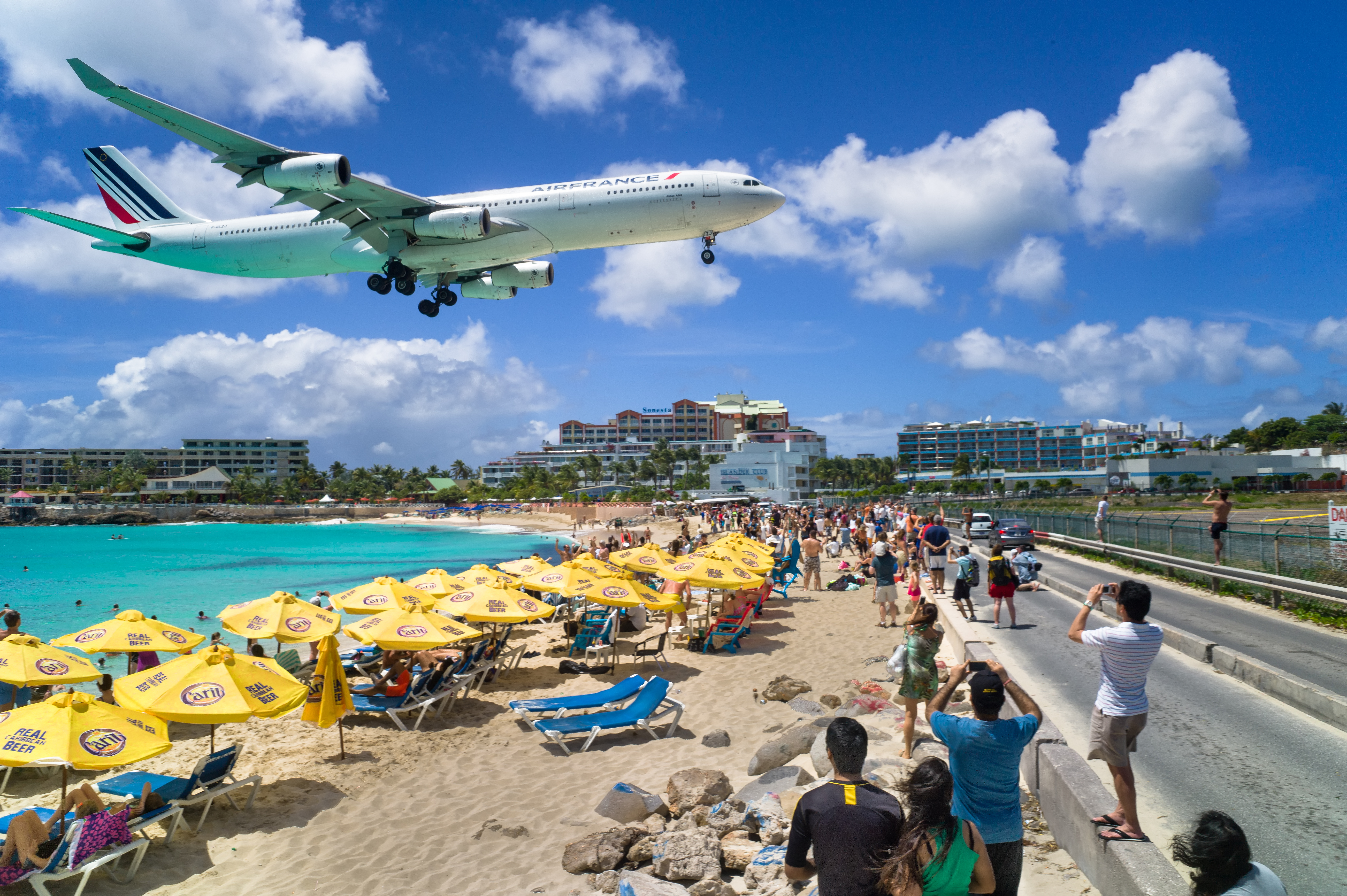 A commercial airline landing at the Princess Juliana International Airport in St Maarten.