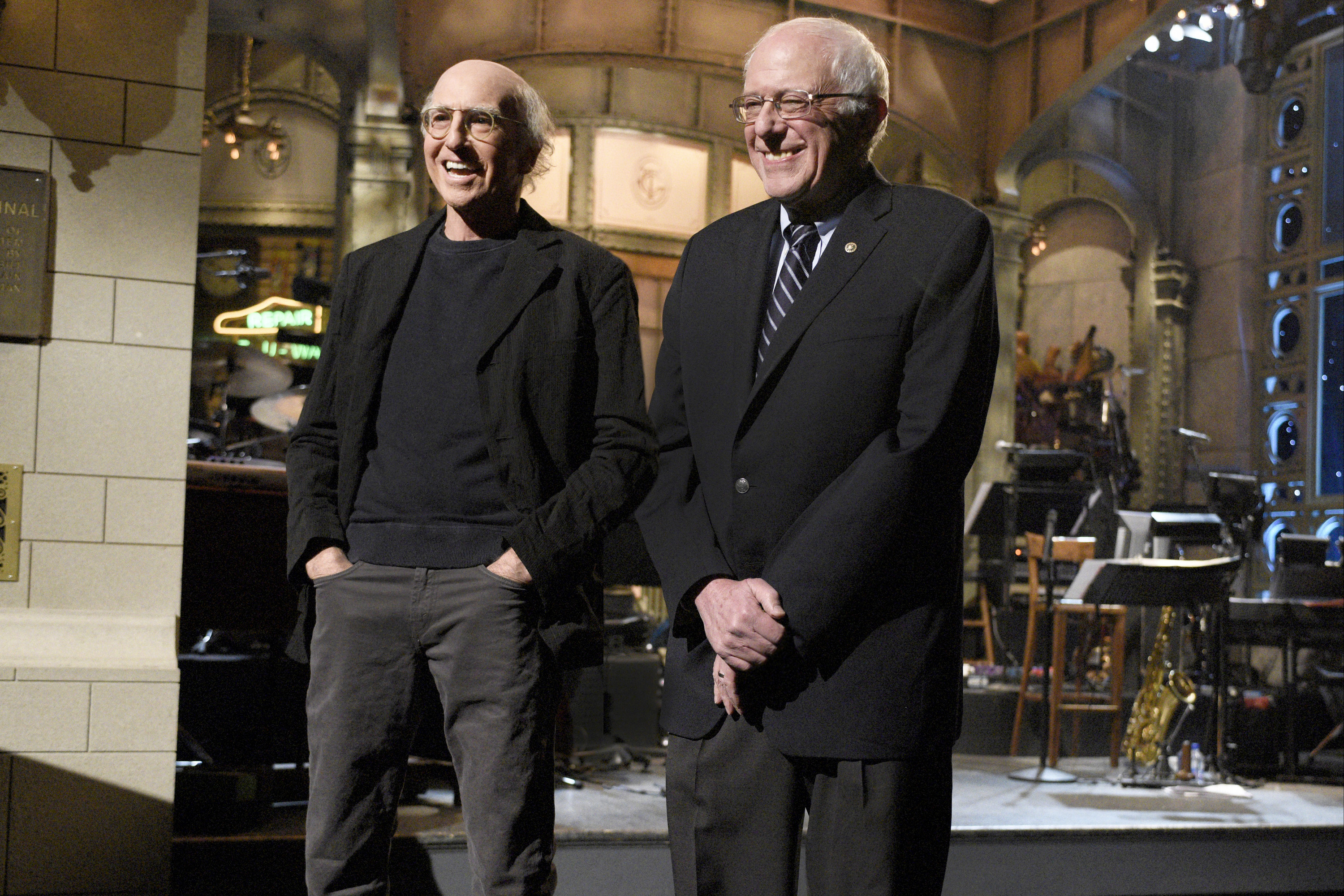 Larry David and Senator Bernie Sanders during the Feb. 6, 2016 episode of 'Saturday Night Live.'
