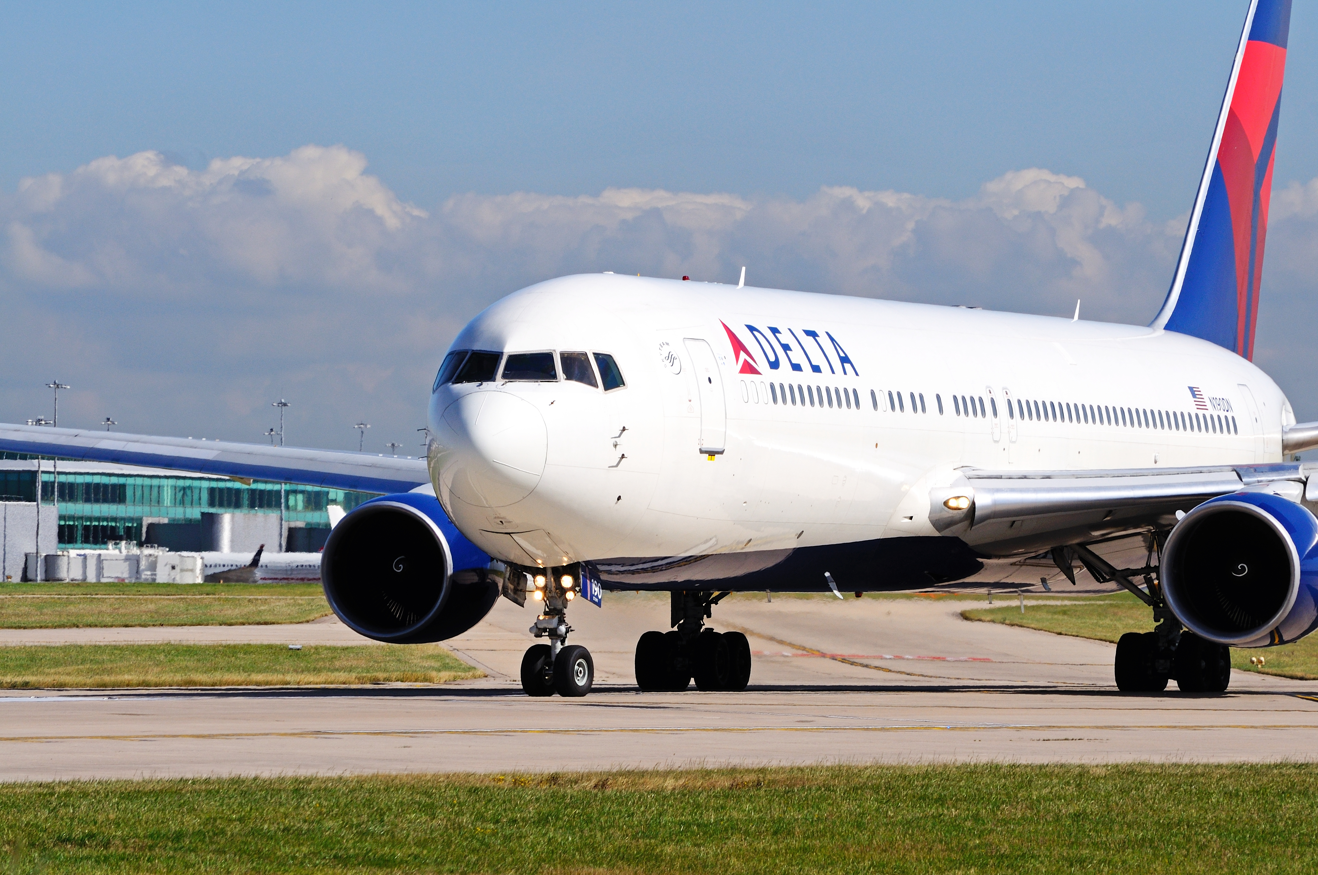 This July 22, 2014 file photo shows a Delta Air Lines Boeing 767-332ER aircraft at Manchester Airport, U.K.