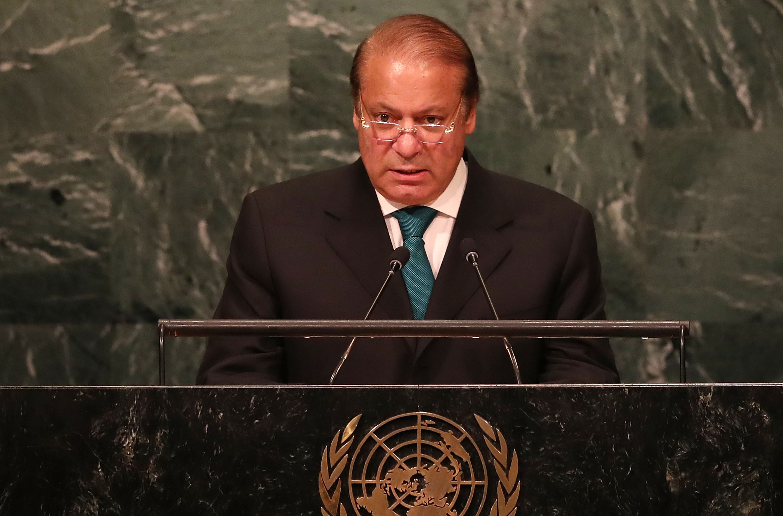 Pakistan's Prime Minister Nawaz Sharif addresses the General Assembly at the United Nations on September 21, 2016 in New York City.