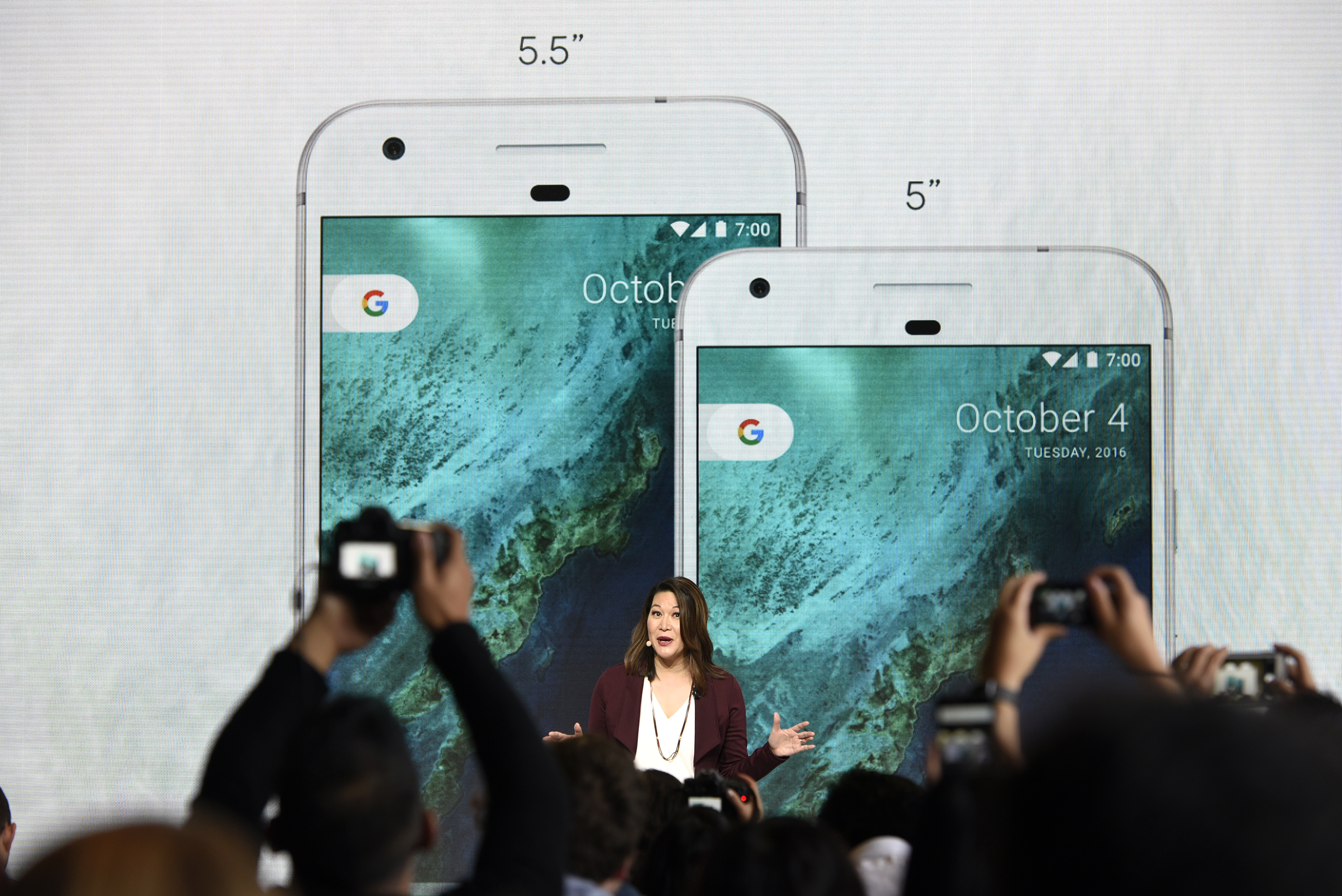 Sabrina Ellis, director of product management for Google Inc., discusses the Google Pixel and Pixel XL smartphones during a Google product launch event in San Francisco, California, U.S., on Tuesday, Oct. 4, 2016.