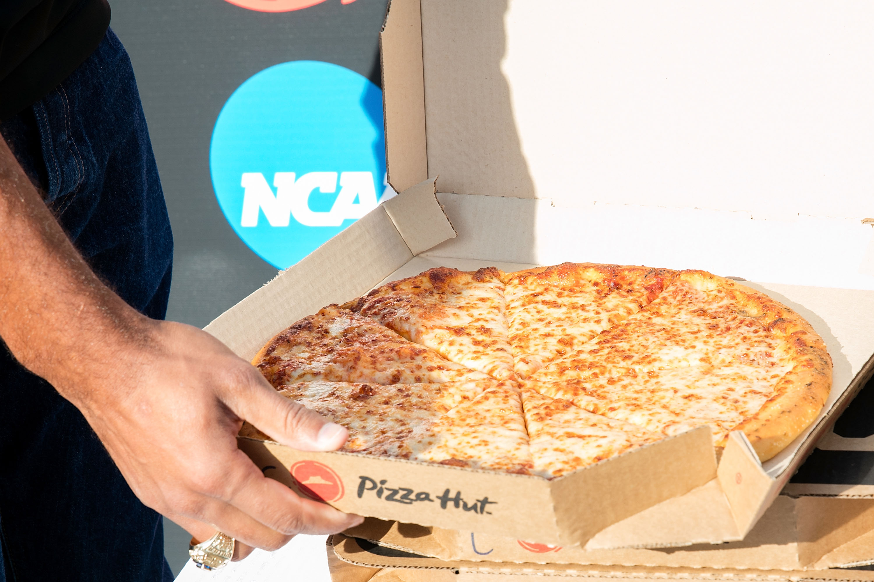 General atmosphere at a ceremony to officially rename the city as  Terre Hut  in celebration of Pizza Hut's partnership with the NCAA and the Division I Cross Country Championship on November 18, 2016 in Terre Haute, Indiana.