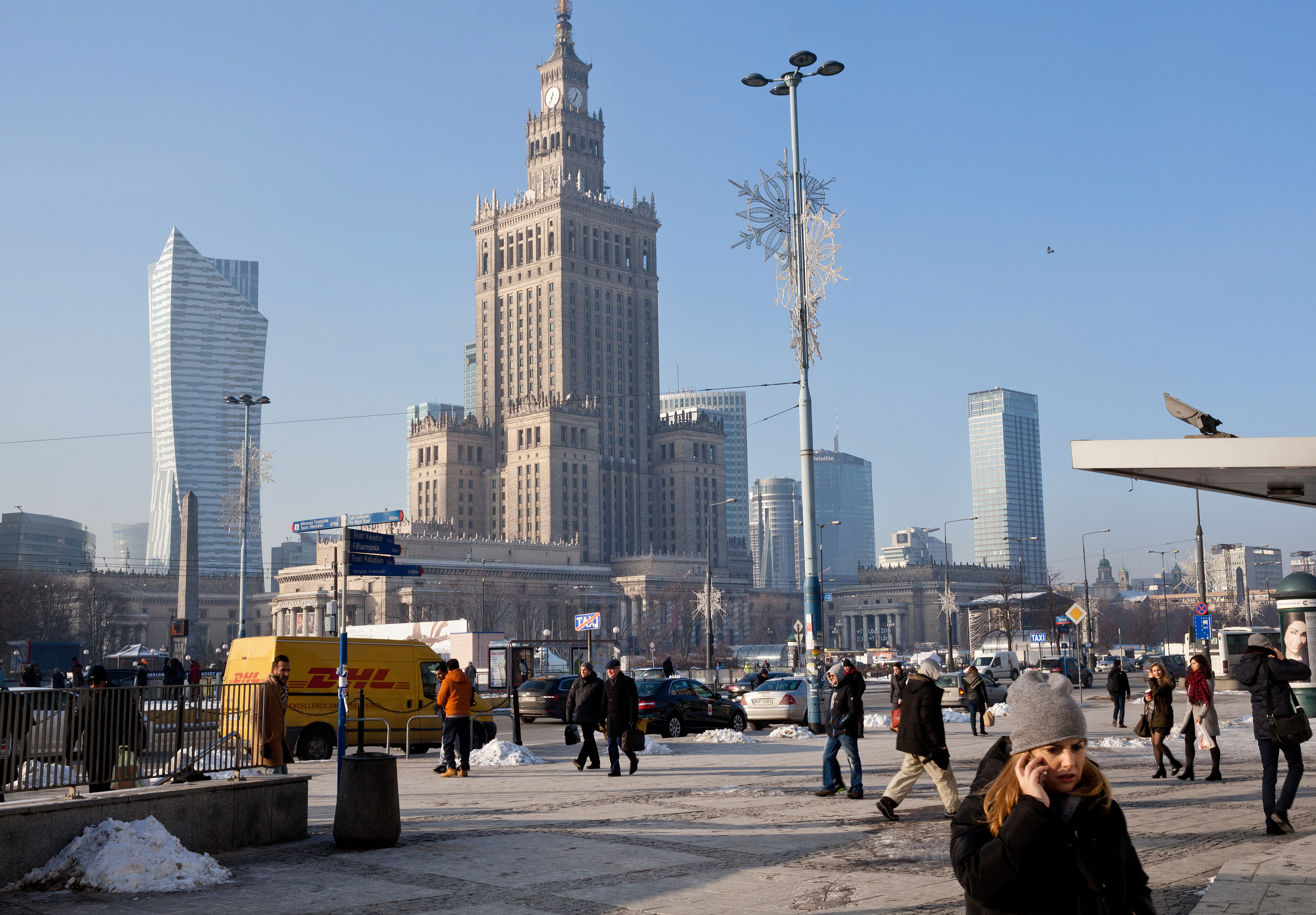 The Palace of Culture and Science, center, in central Warsaw, Poland, on Monday, Jan. 9, 2017