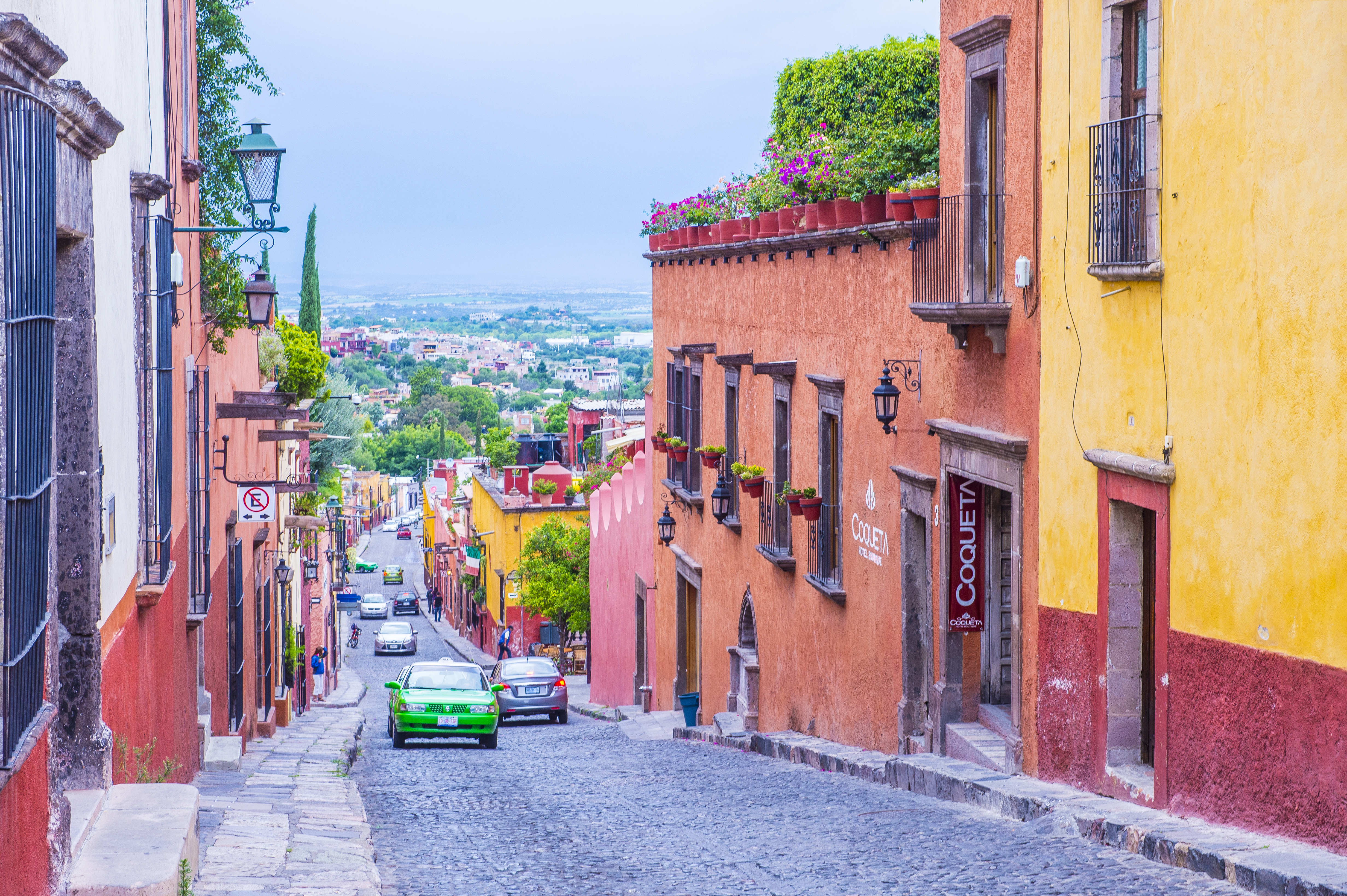 Street view in San Miguel de Allende,Mexicok. The historic city San Miguel de Allende is UNESCO World Heritage Site since 2008.