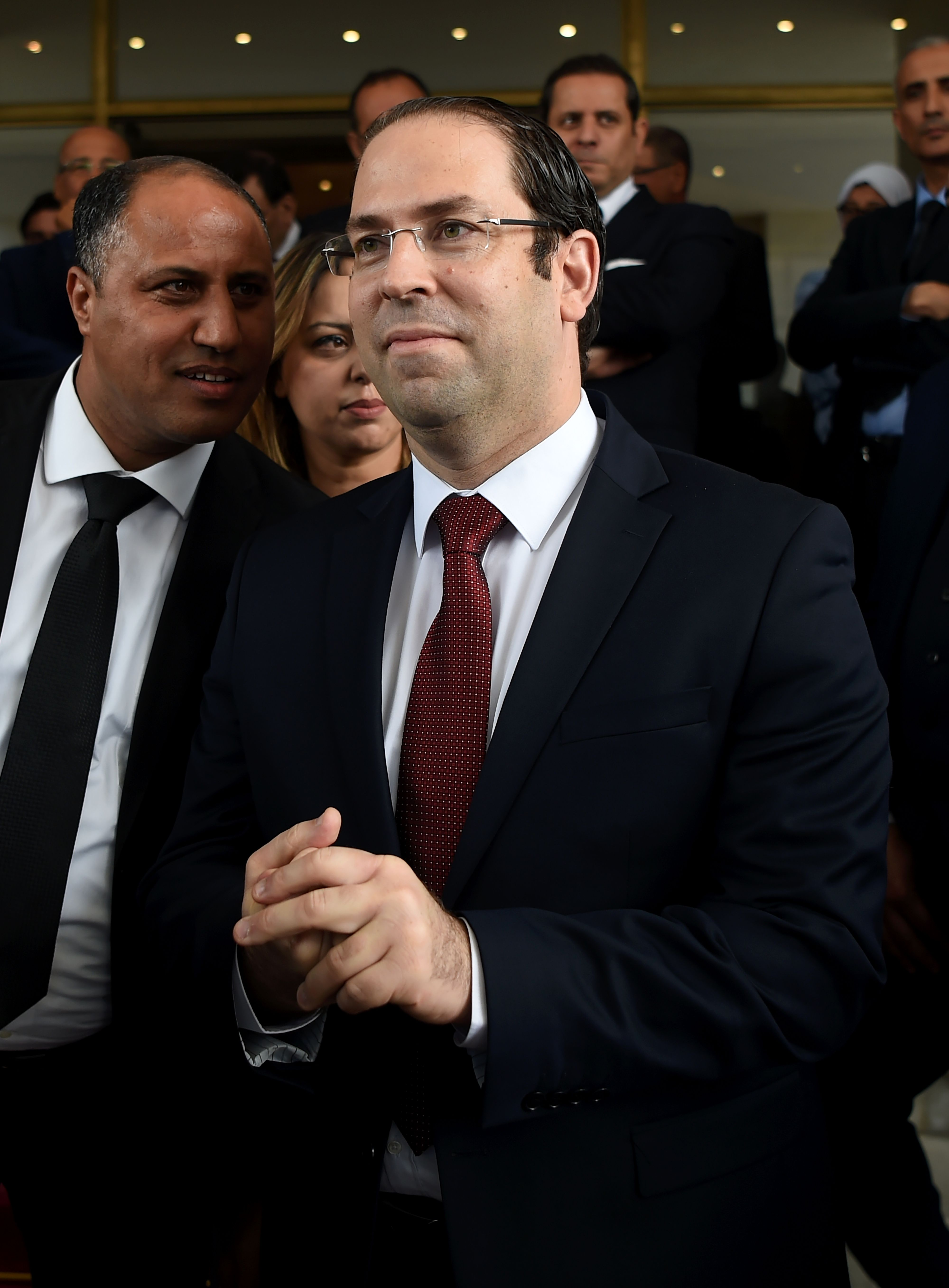 Tunisian Prime Minister Youssef Chahed attends a speech in Tunis on May 10, 2017