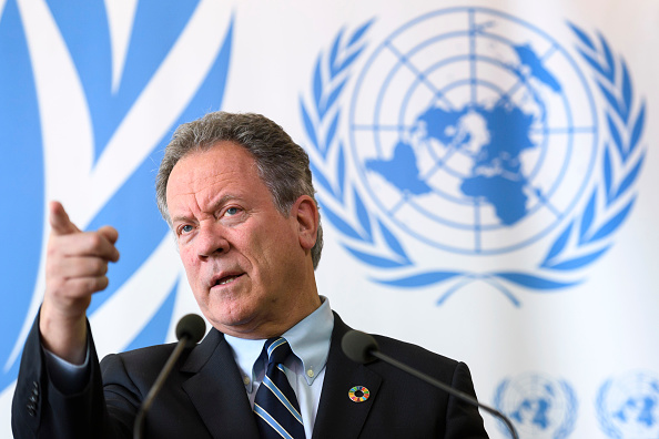 The new head of the World Food Programme (WFP) David Beasley attends a press conference about an updated aid appeal for South Sudan on May 15, 2017 at the United Nations Office in Geneva.