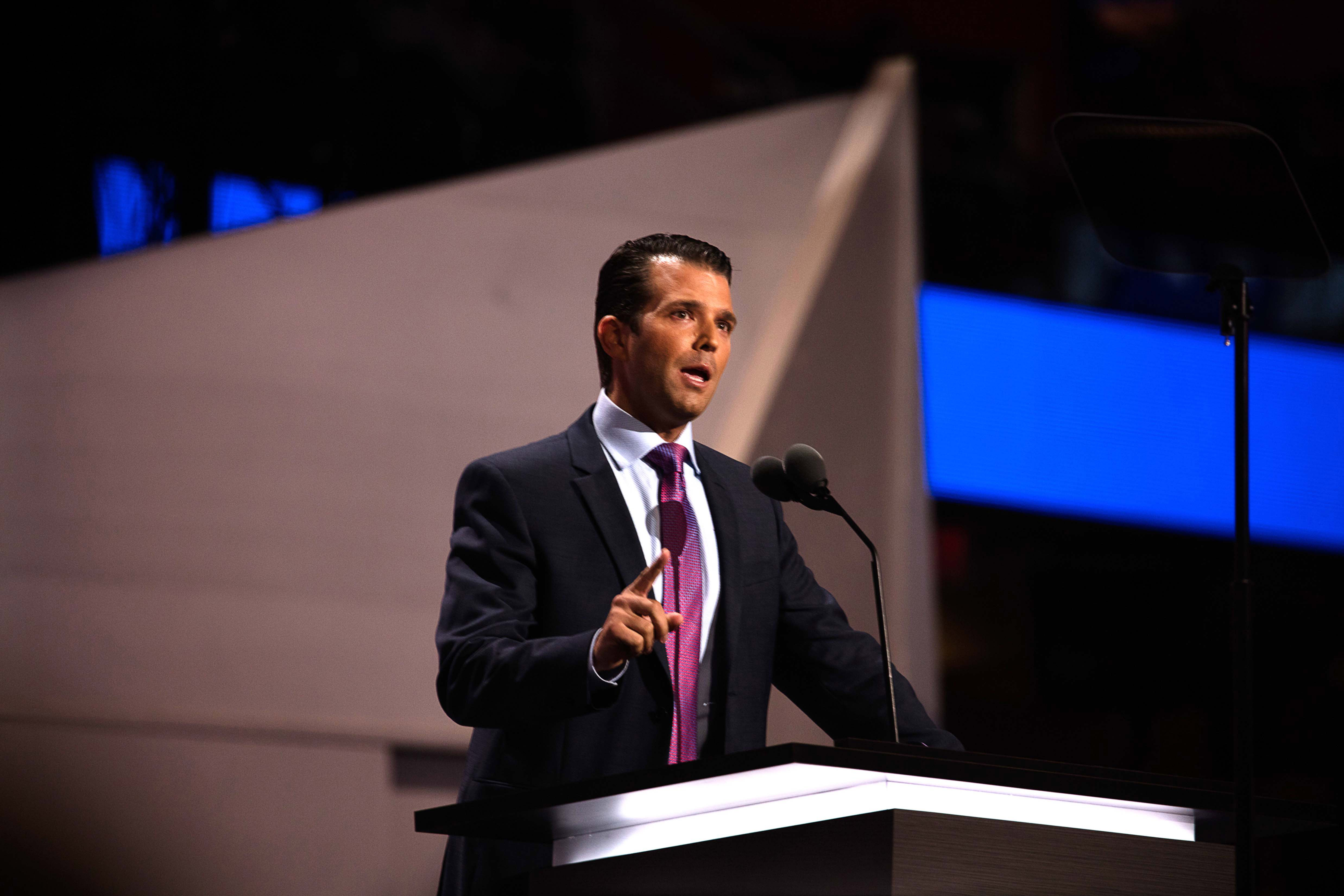 View of Donald Trump Jr, one of candidate Trump's sons, as he speaks from the podium during the Republican National Convention at Quicken Loans Arena, Cleveland, Ohio, July 19, 2016.