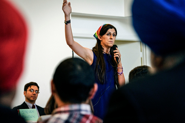 Democratic primary candidate Danica Roem makes her pitch to voters at the Bull Run Swim & Raquet Club while debating three fellow Democrats vying to unseat Republican State Delegate Bob Marshall in Manassas, Virginia Friday June 2, 2017.