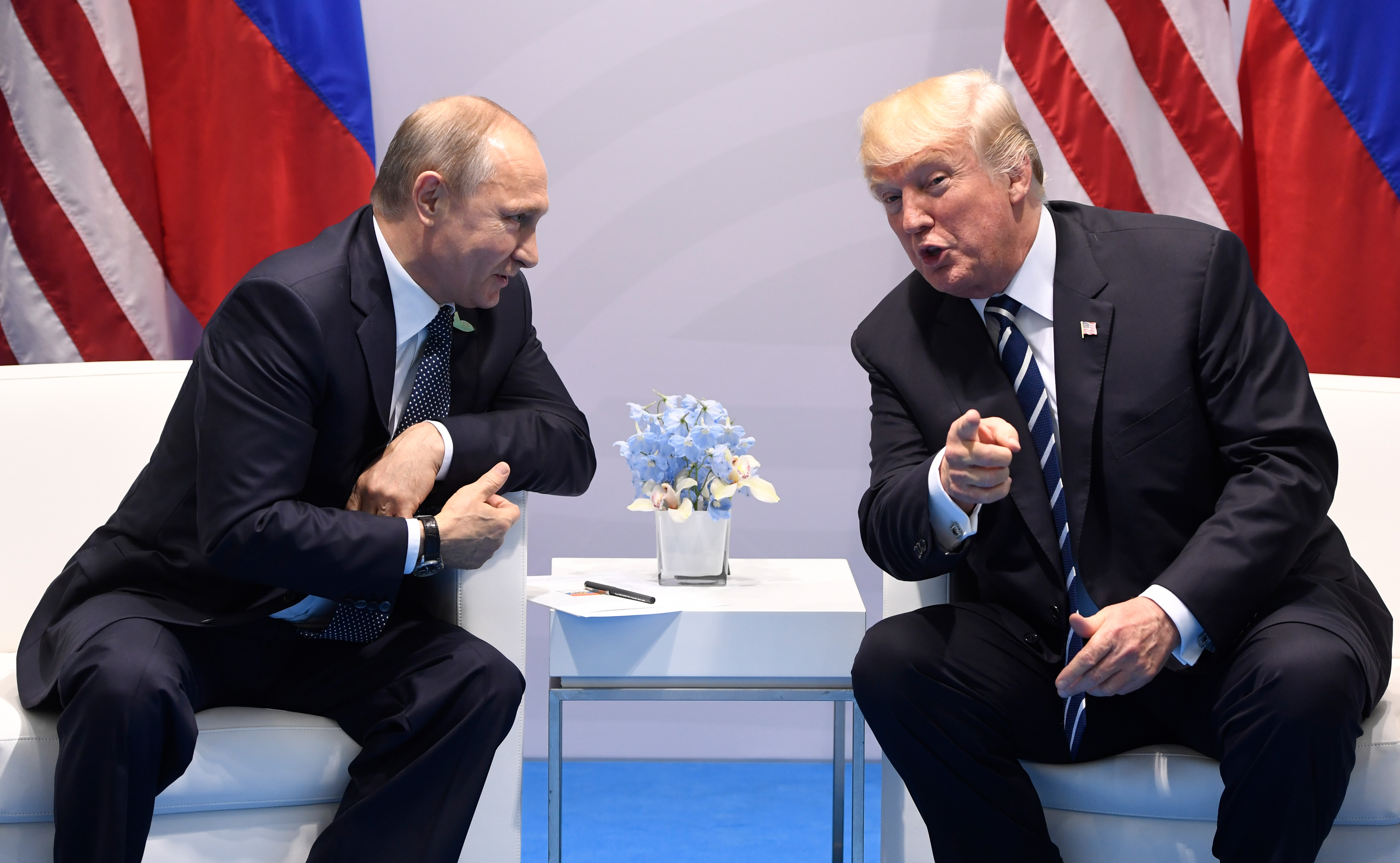 US President Donald Trump and Russia's President Vladimir Putin hold a meeting on the sidelines of the G20 Summit in Hamburg, Germany, on July 7, 2017.