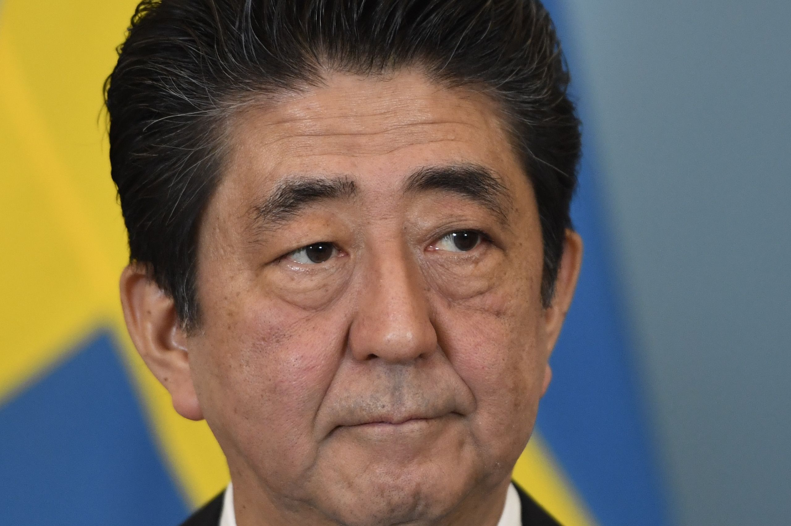 Japan's Prime Minister Shinzo Abe at a joint press conference with the Swedish Prime Minister in Stockholm, July 9, 2017.