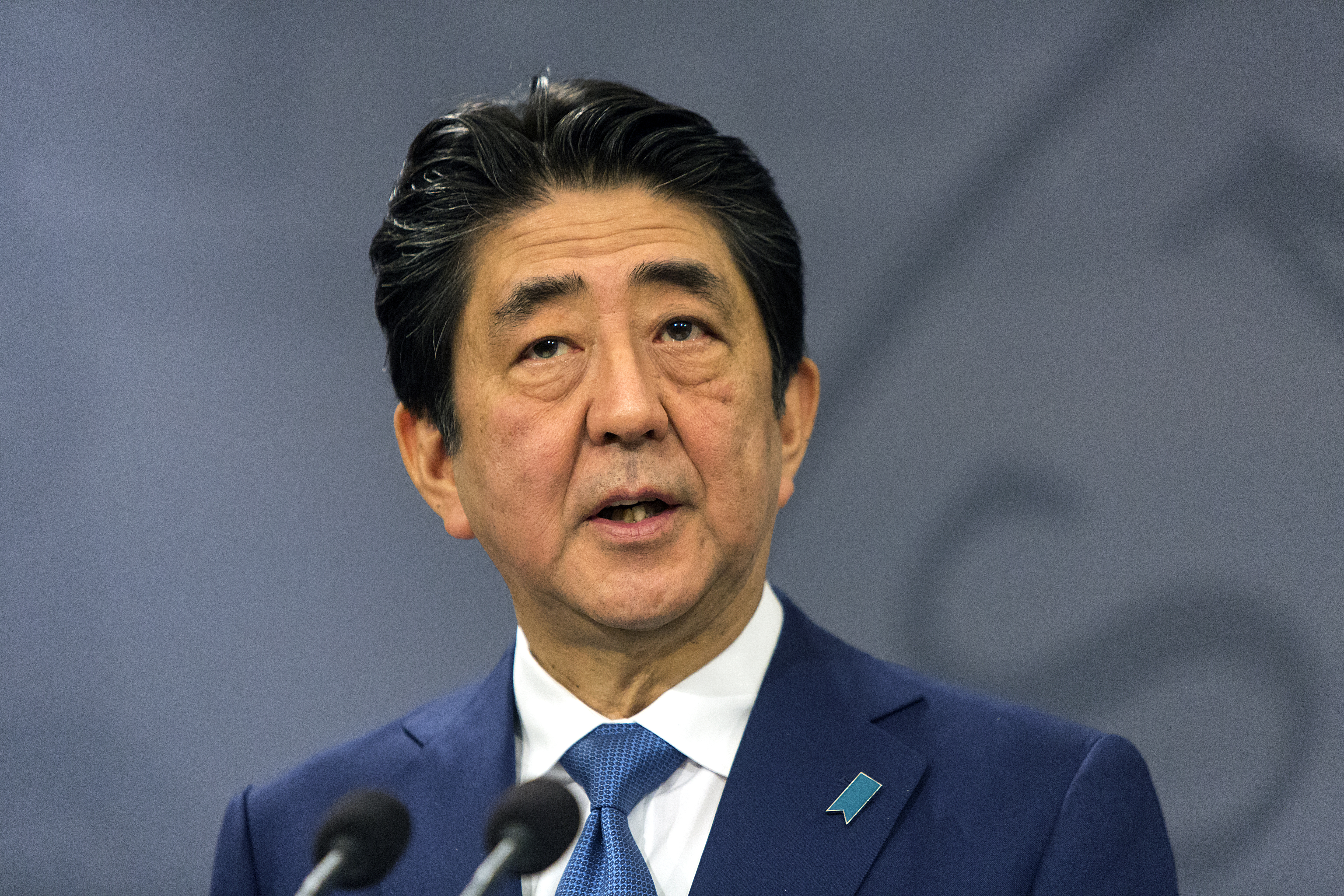 COPENHAGEN, DENMARK - JULY 10: Japanese Prime Minister Shinzo Abe during his meeting with Danish Prime Minister Lars Loekke Rasmussen at the PM's Office on July 10, 2017 in Copenhagen, Denmark. The two heads of state discussed the situation on the Korean peninsula and how Japan and Denmark could enhance their strategic partnership further. The Japanese PM said during their joint press conference that North Korea undermines the international order seriously.  (Photo by Ole Jensen - Corbis/Corbis via Getty Images)