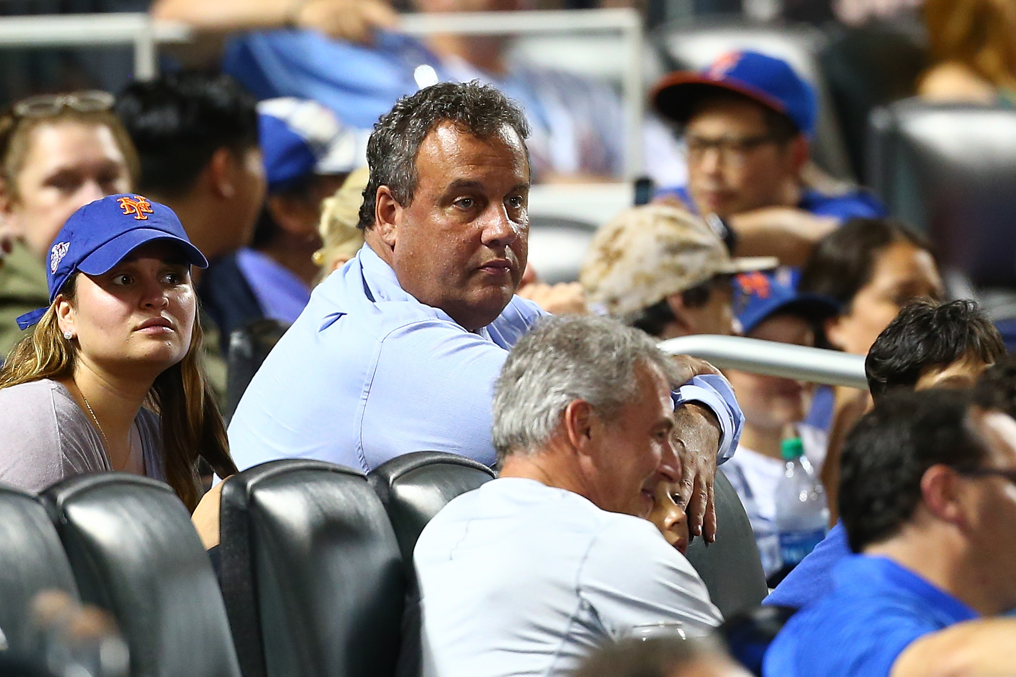 Governor of New Jersey Chris Christie attends the game between the New York Mets and the St. Louis Cardinals at Citi Field on July 18, 2017 in the Flushing neighborhood of the Queens borough of New York City. Mike Stobe—Getty Images