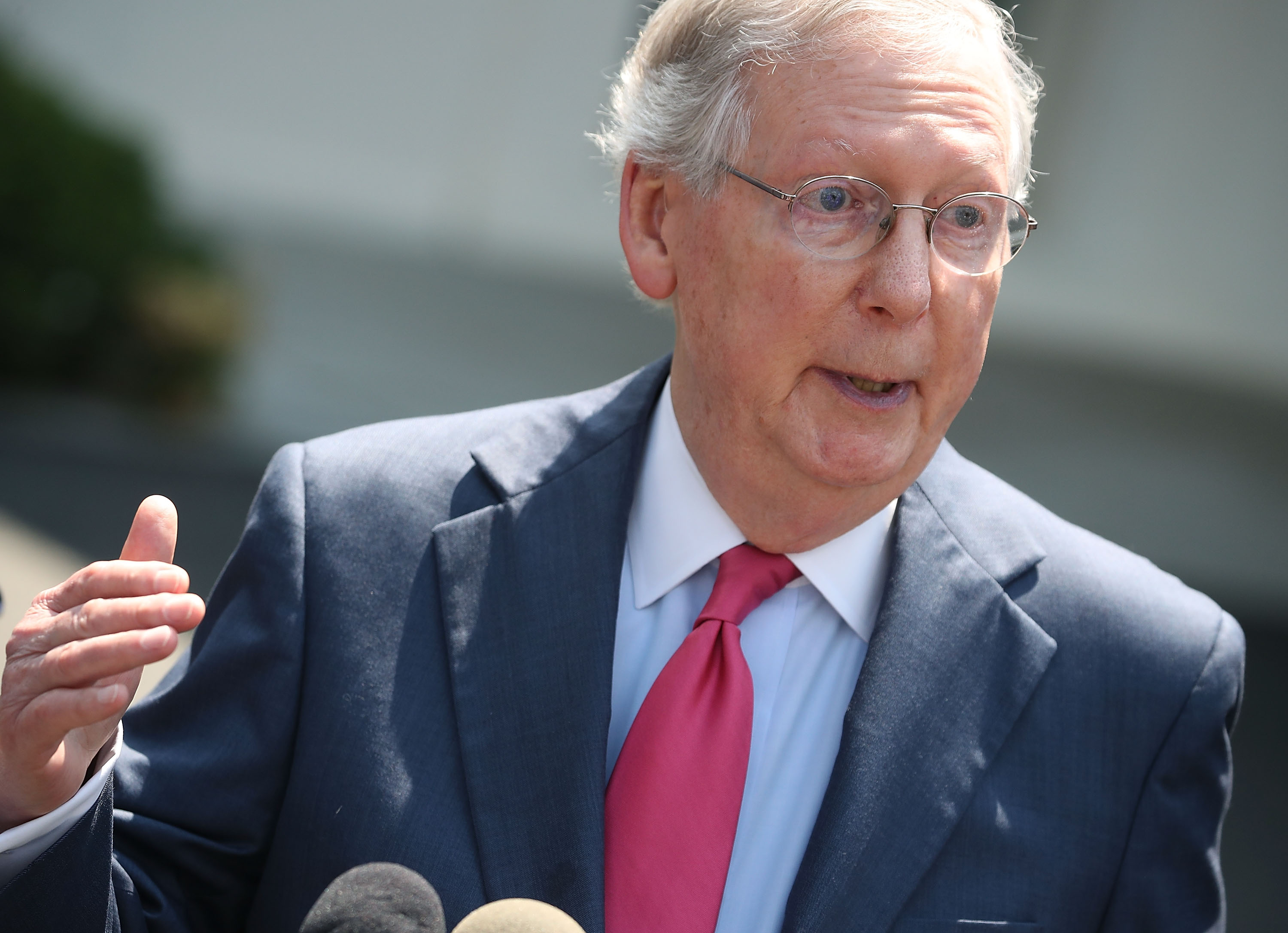 Senate Majority Leader Mitch McConnell (R-KY) speaks to the media July 19, 2017 at the White House in Washington, D.C.