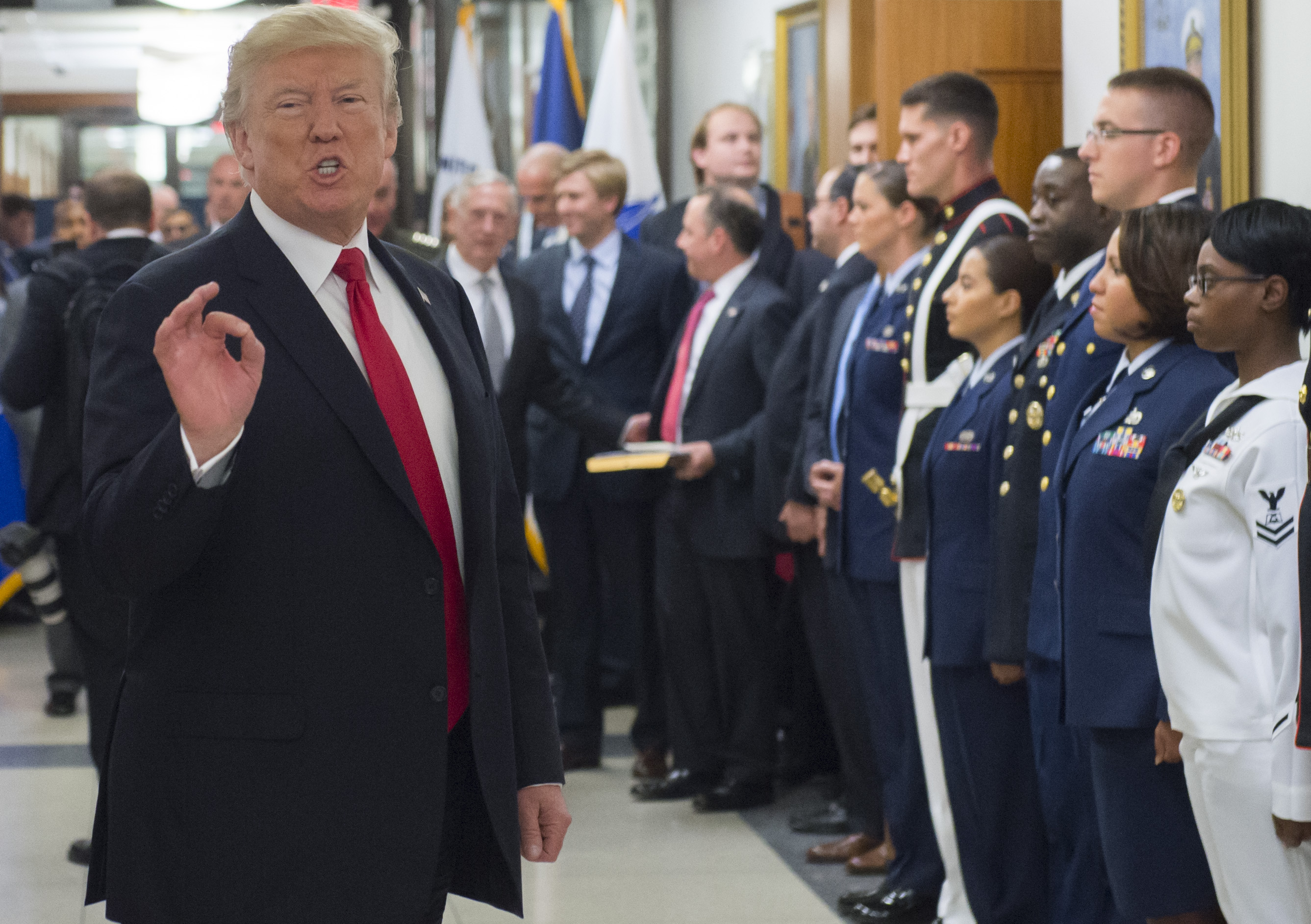 US President Donald Trump speaks to members of the US military following a meeting at the Pentagon in Washington, DC, July 20, 2017.