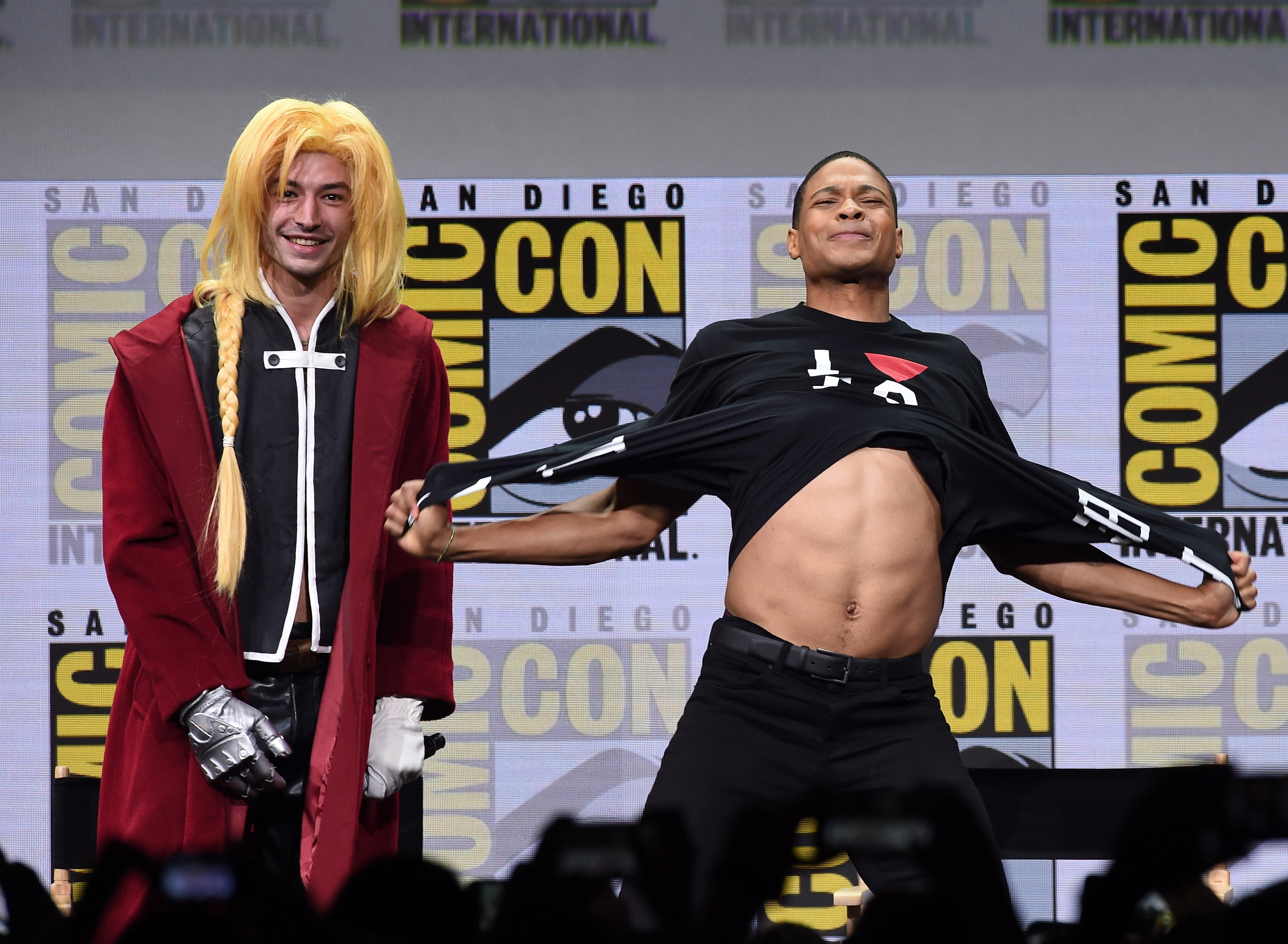 Actors Ezra Miller (L) and Ray Fisher attend the Warner Bros. Pictures  Justice League  Presentation during Comic-Con International 2017 at San Diego Convention Center on July 22, 2017 in San Diego, California