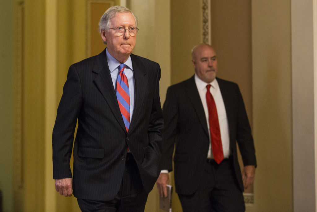 Senate Majority Leader Mitch McConnell, by the Senate Chamber following a vote at the Capitol Building in Washington, D.C., on  July 27, 2017.