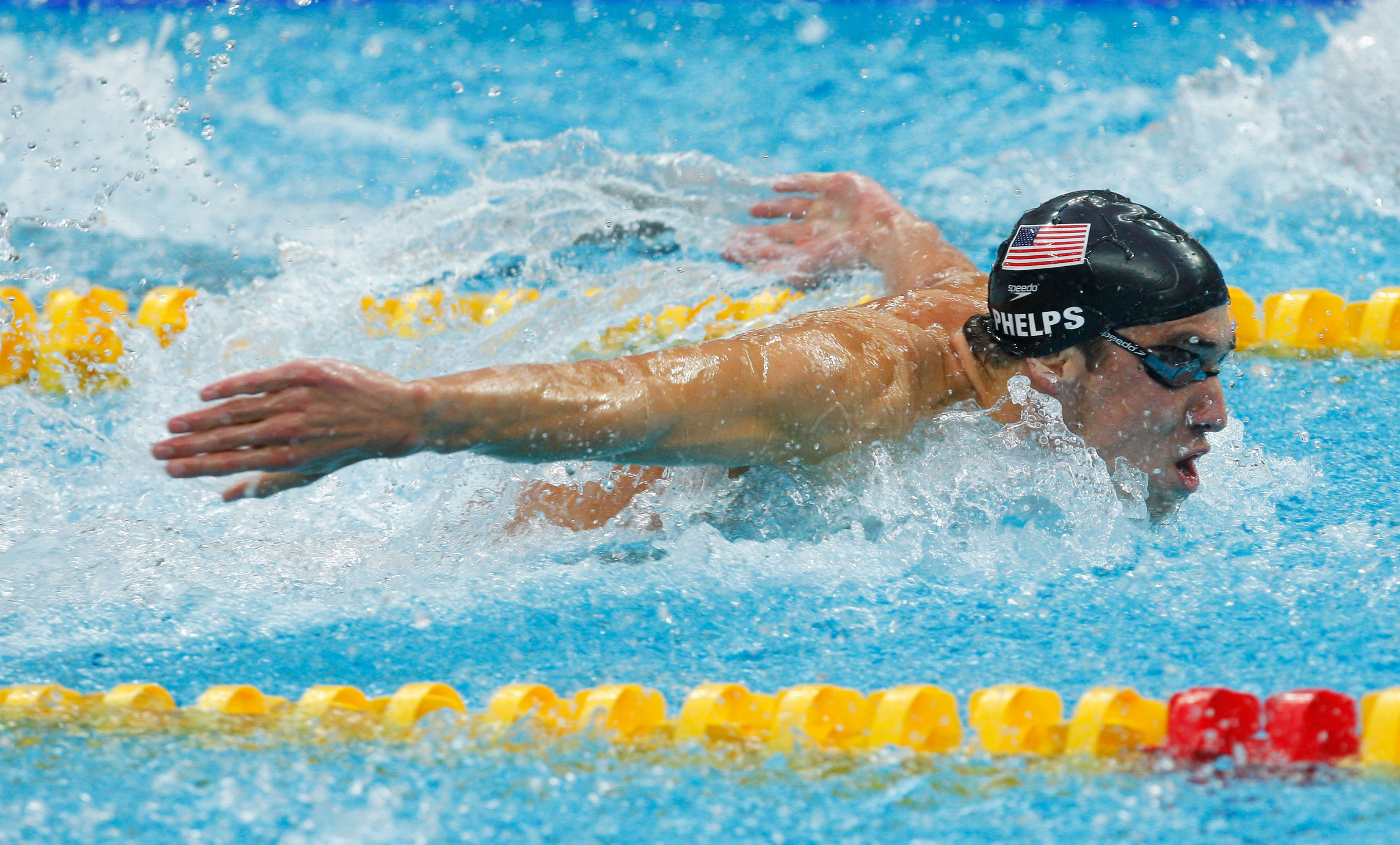 Michael Phelps of the Unites States competes in the butterfly leg of the Men's 4x100 Medley Relay held at the National Aquatics Centre during Day 9 of the Beijing 2008 Olympic Games on August 17, 2008 in Beijing, China.